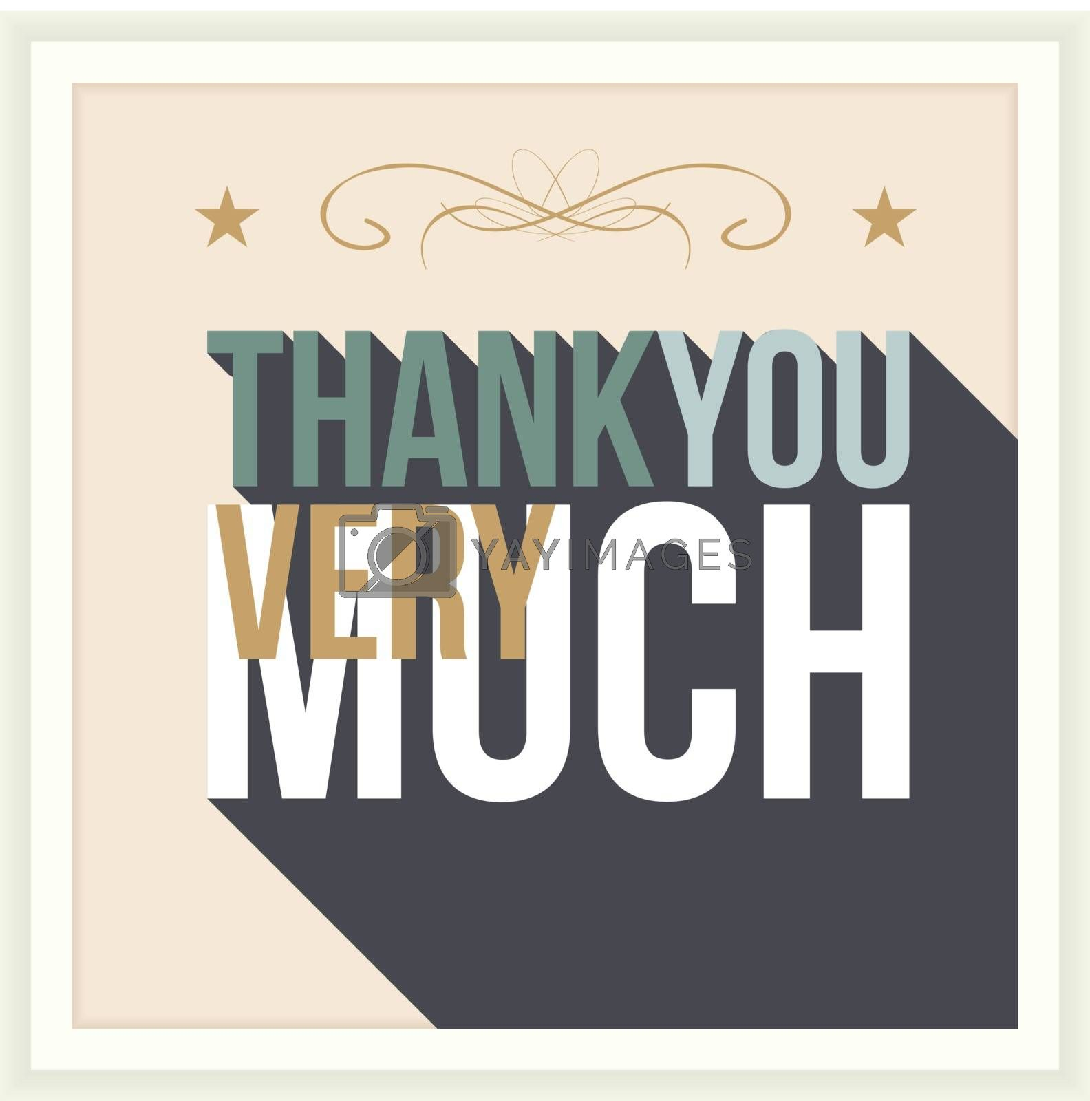 Thank you card, with font, typography style