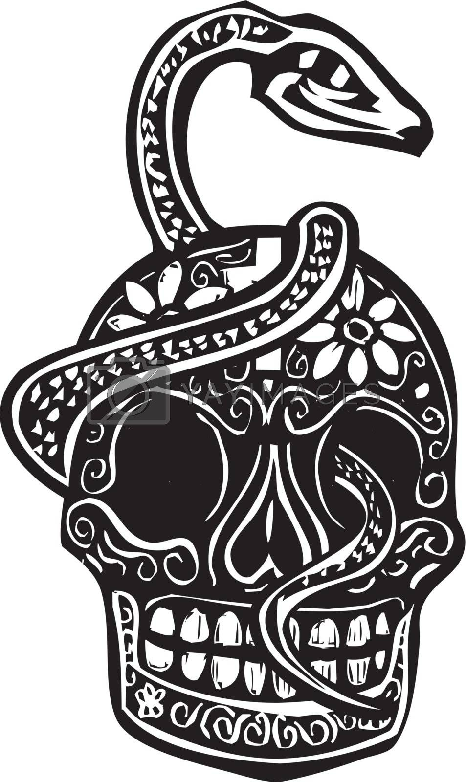 Woodcut style image of a day of the dead Skull wrapped in a serpent.