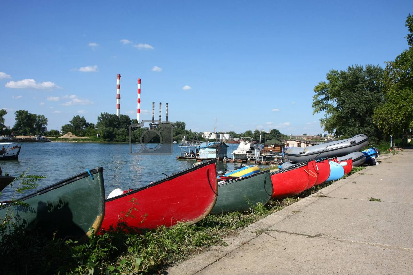 Boats and canoes on the riverside of Sava river,Belgrade,Serbia