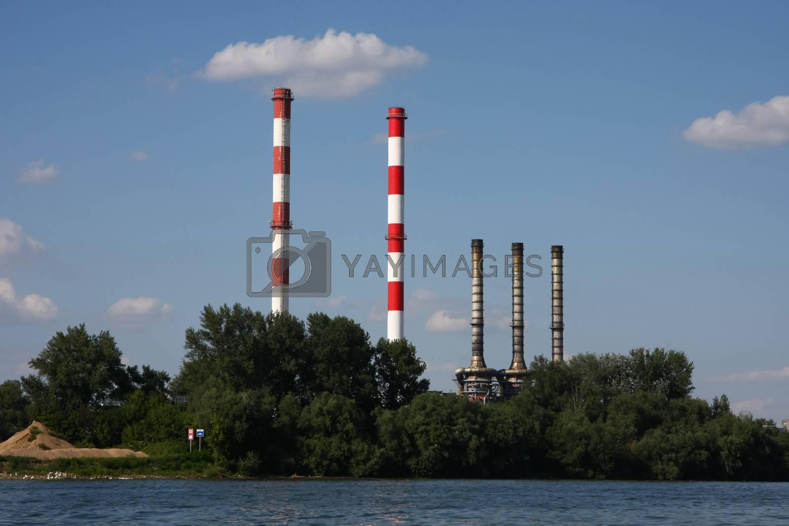 Chimneys of heating plant on the coast of Sava river,Belgrade,Serbia