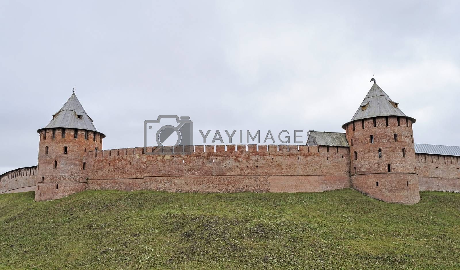 Fortification wall with two towers in Veliky Novgorod (Detinets), Russia