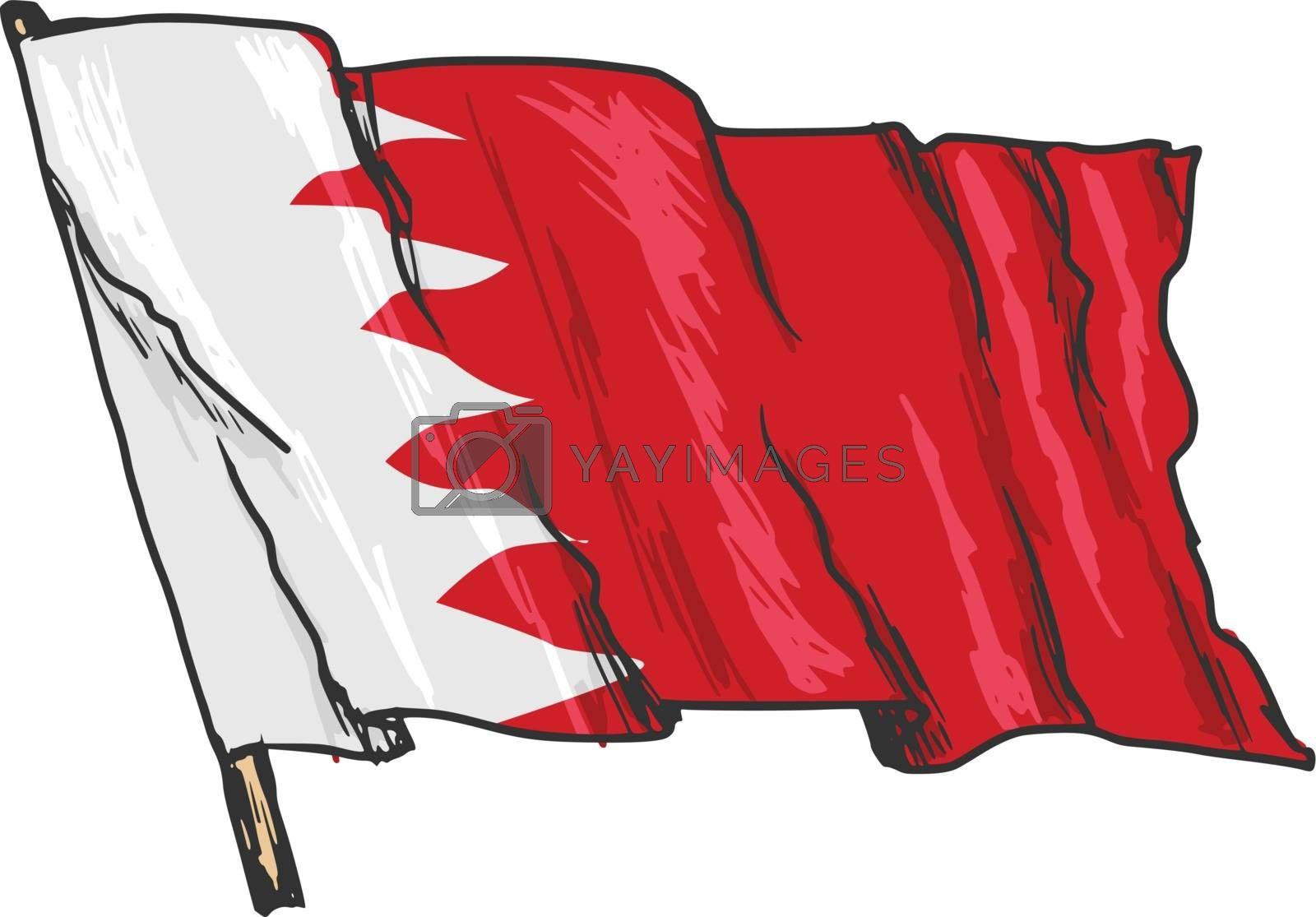 hand drawn, sketch, illustration of flag of Bahrain