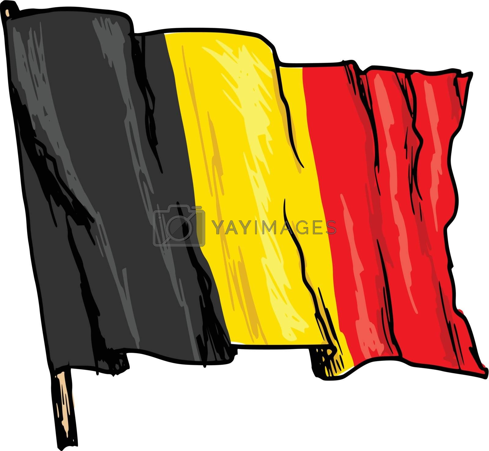 hand drawn, sketch, illustration of flag of Belgium