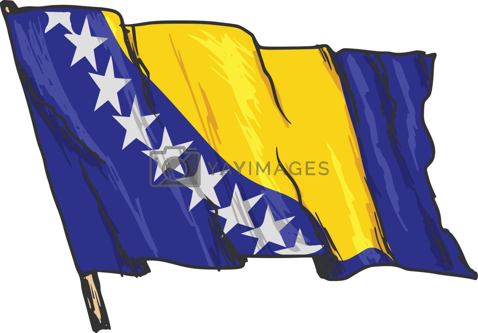 hand drawn, sketch, illustration of flag of Bosnia