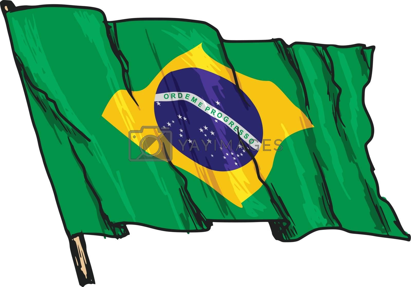 hand drawn, sketch, illustration of flag of Brazil
