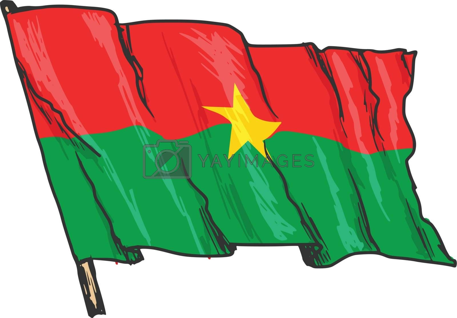 hand drawn, sketch, illustration of flag of Burkina Faso