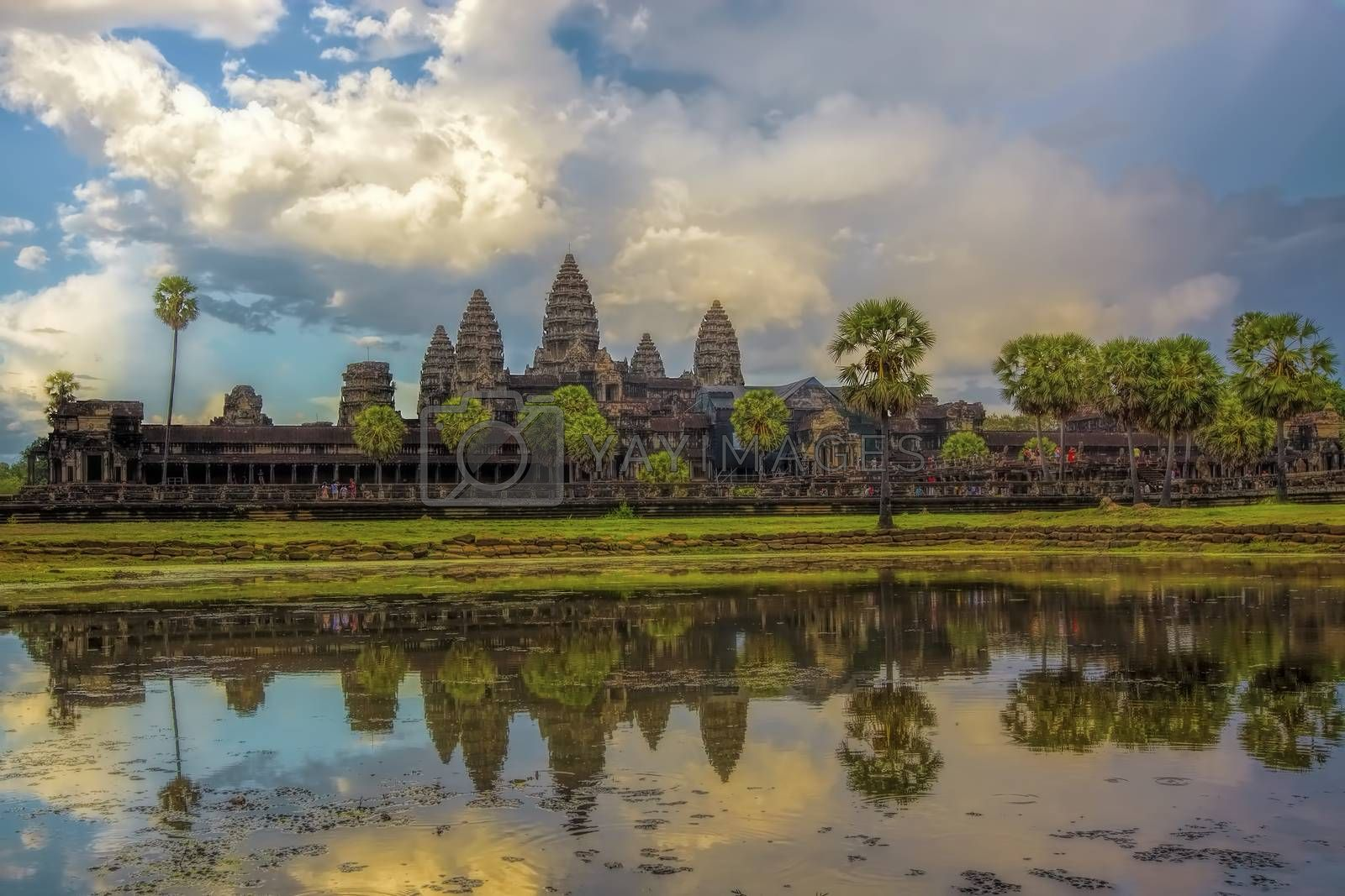 Sunset over the Angkor Wat temple in Cambodia