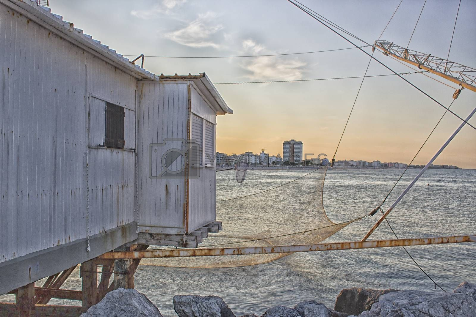 Fishing hut in the harbour channel of Cervia in Northern Italy on the Adriatic Sea