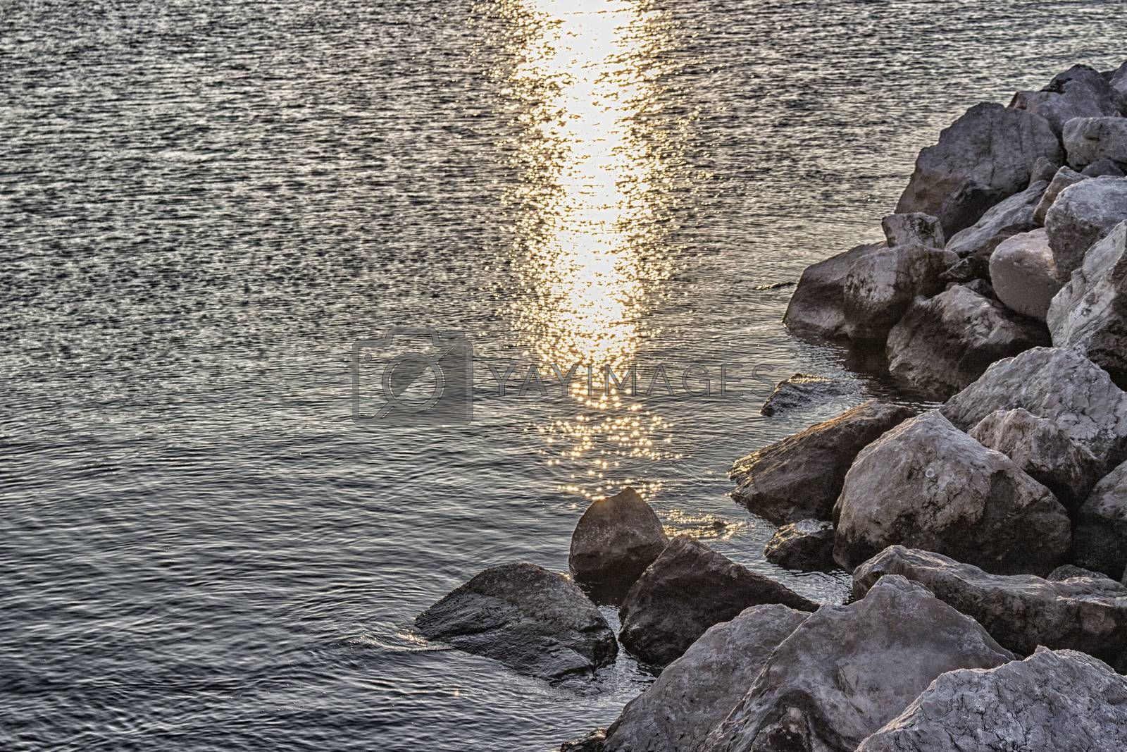 Rocks in front of the harbour channel of Cervia in Northern Italy on the Adriatic Sea