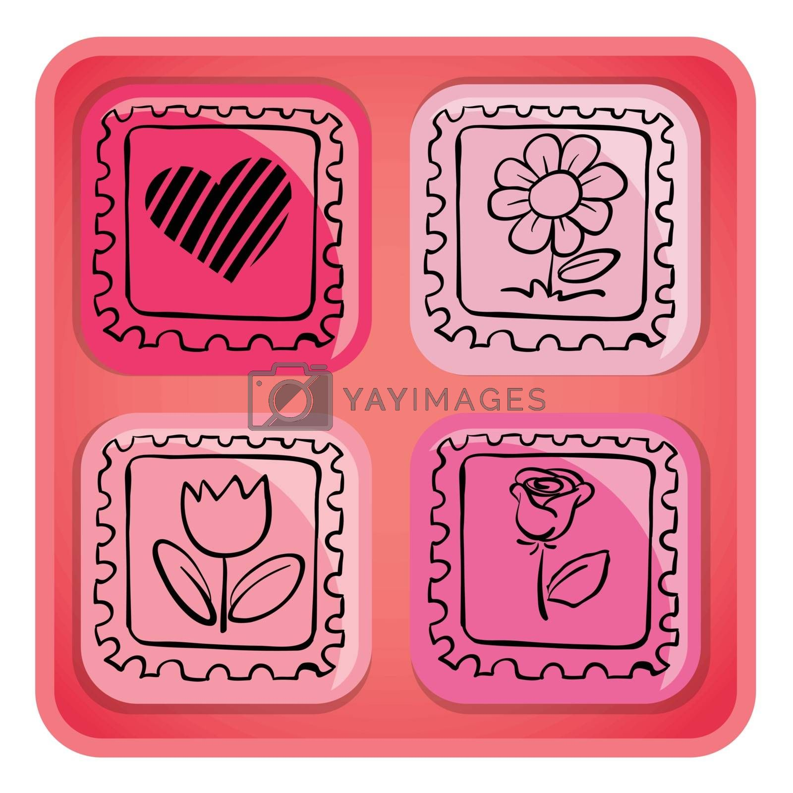 Illustration of a pink cube with images on a white background