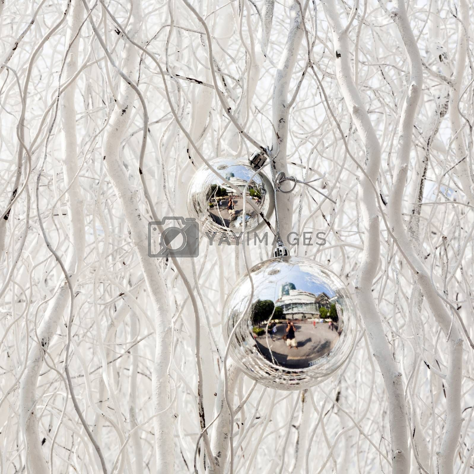 white painted branches give a harmonic background with chrismas tree balls and mirroring
