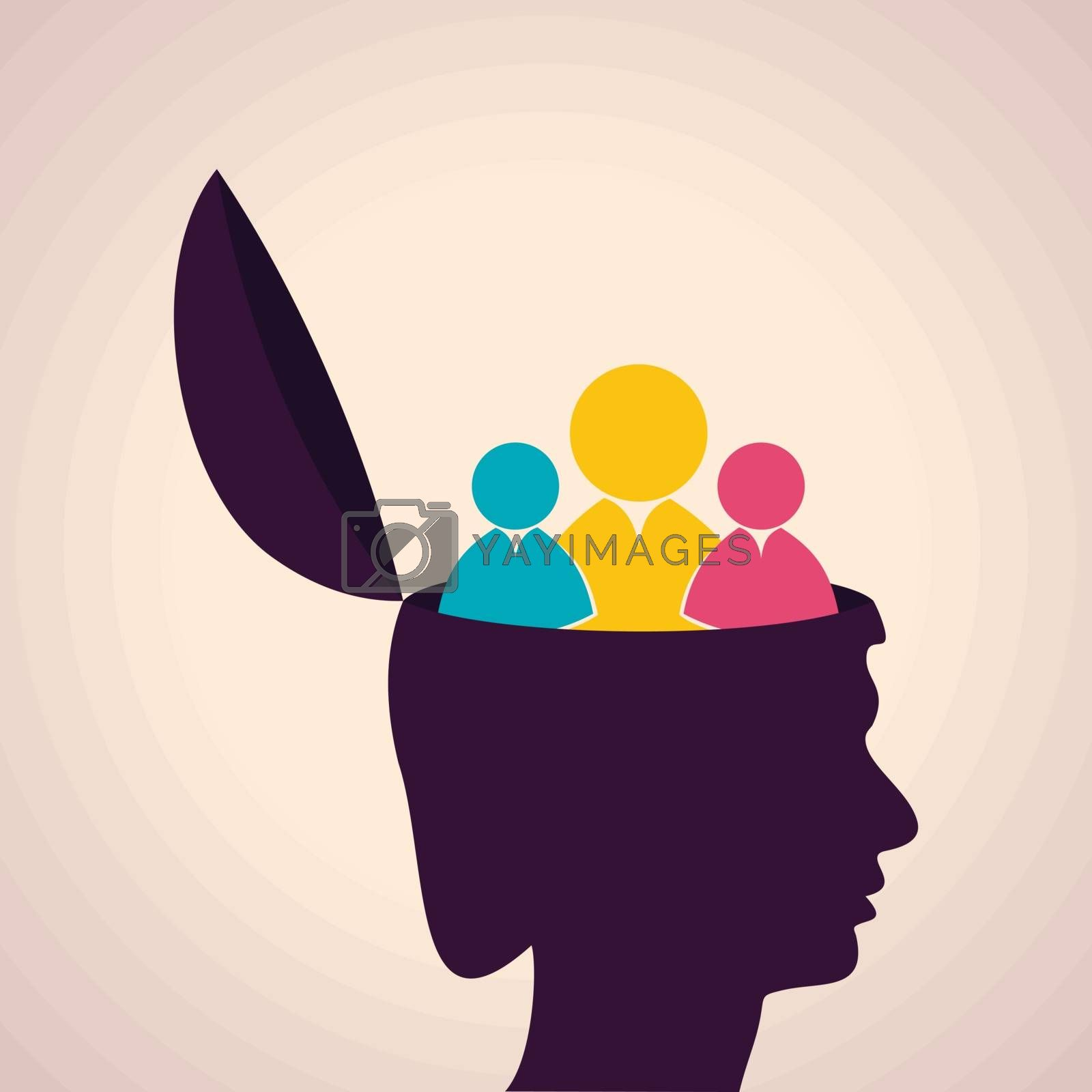 Illustration of thinking concept-Human head with people icon