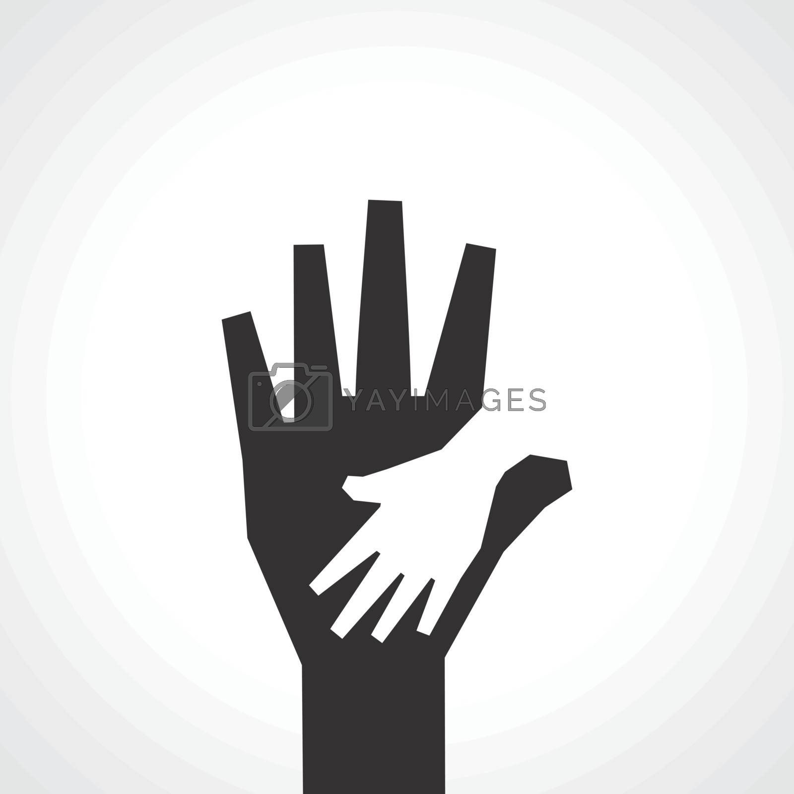 Parent and child hands  Vector family background