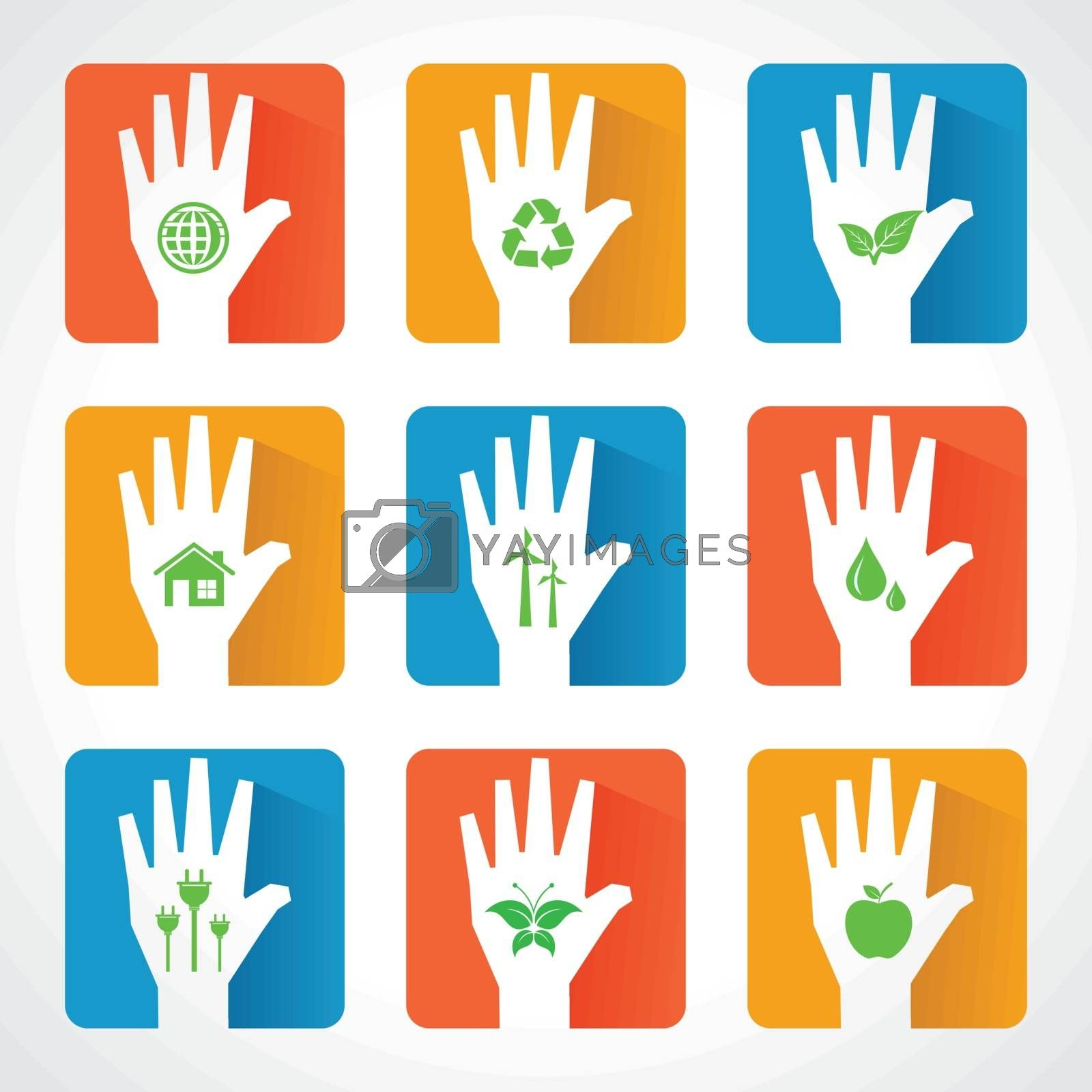 United for ecology concept with hands - vector illustration