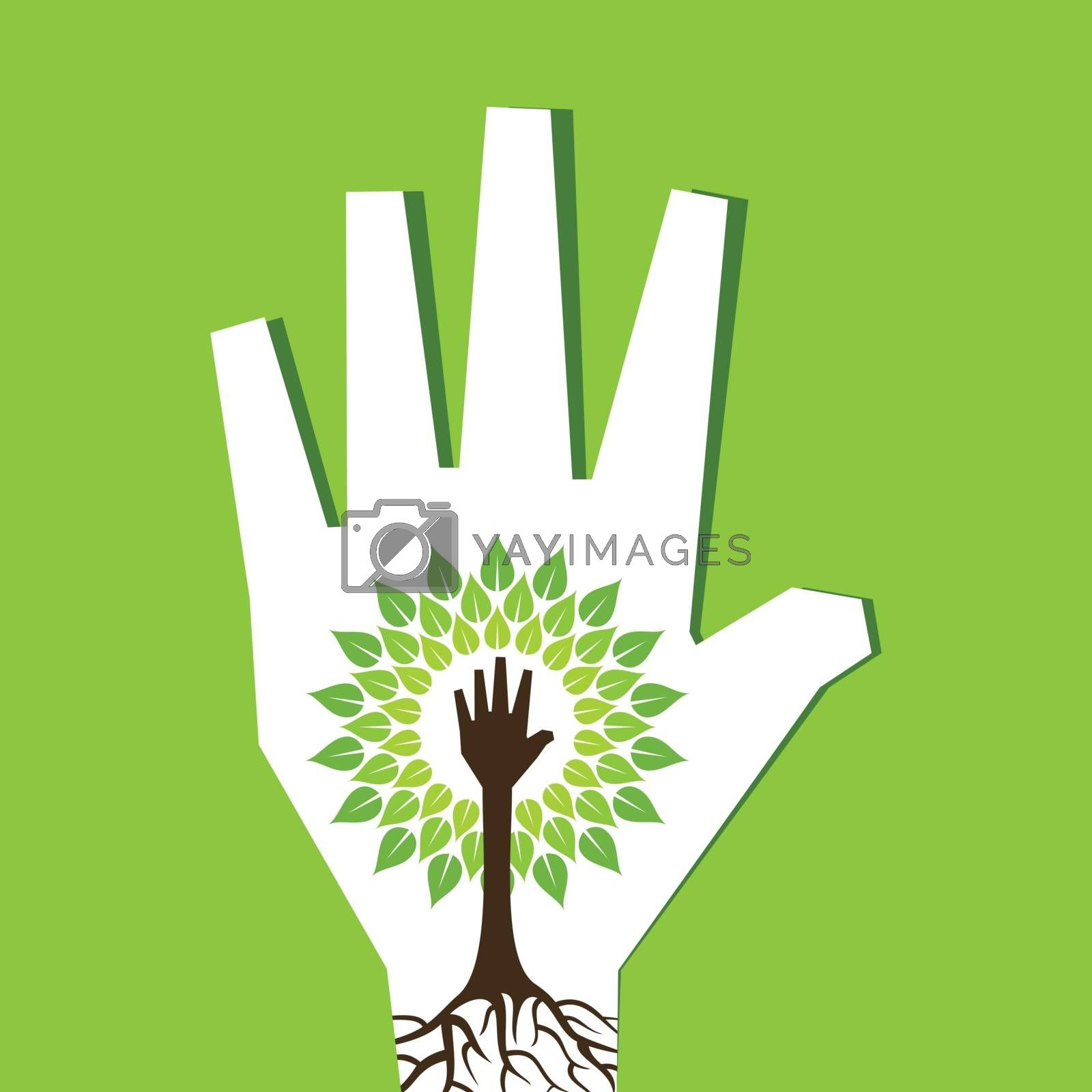 Helping hand make tree inside the tree- vector illustration
