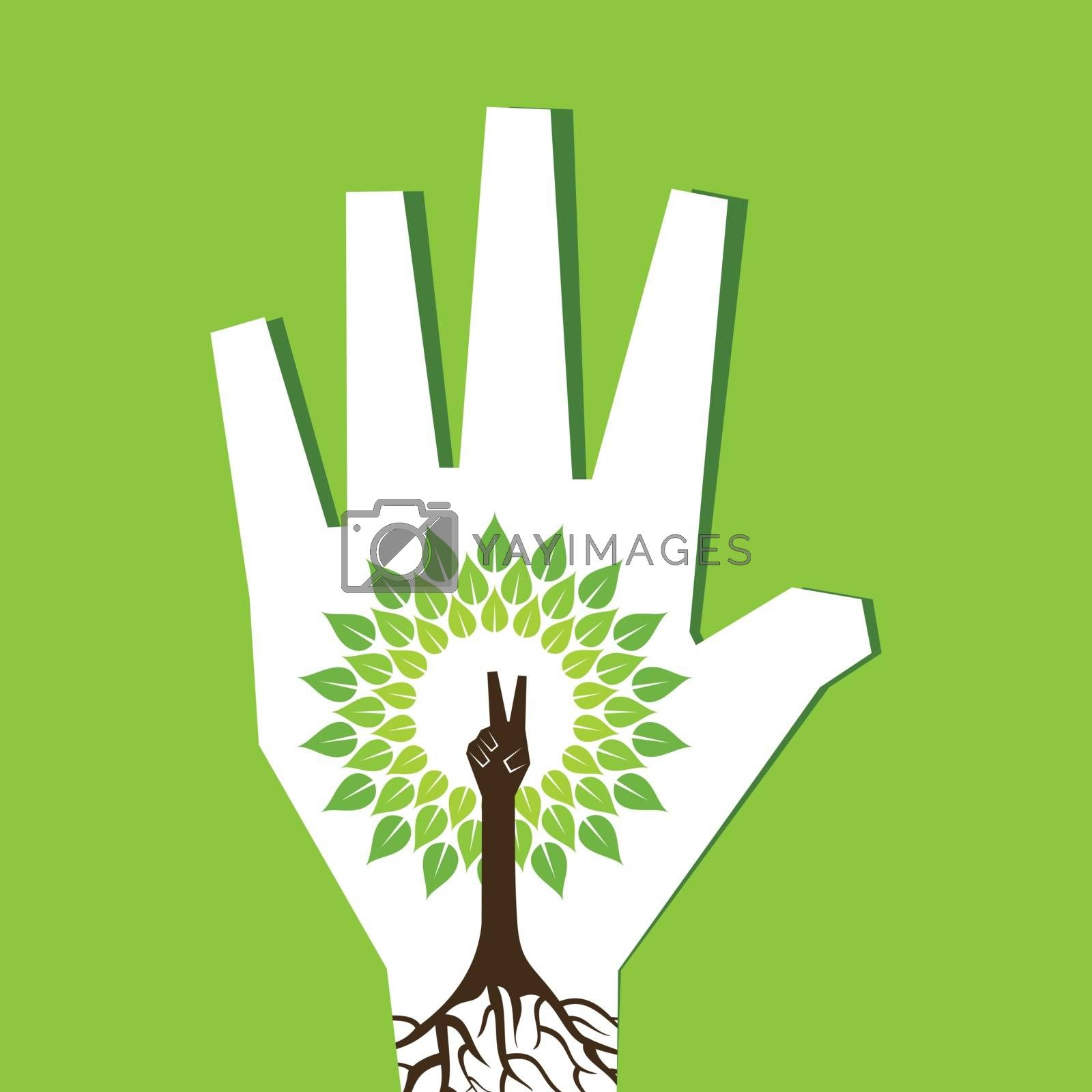 Victory hand make tree inside the tree- vector illustration