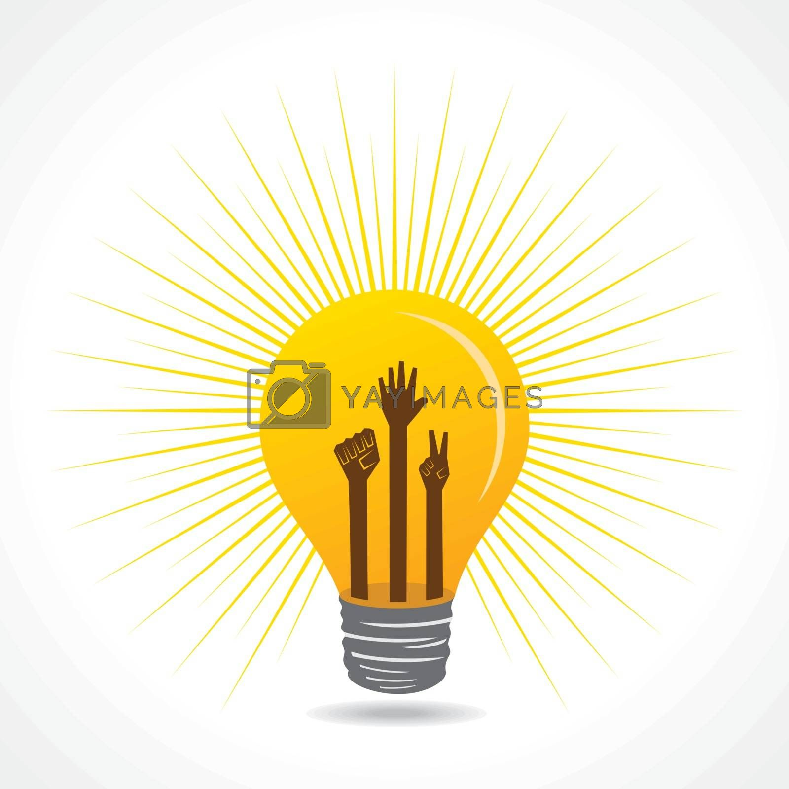 Unity,victory and helping hand are inside the bulb - vector illustration