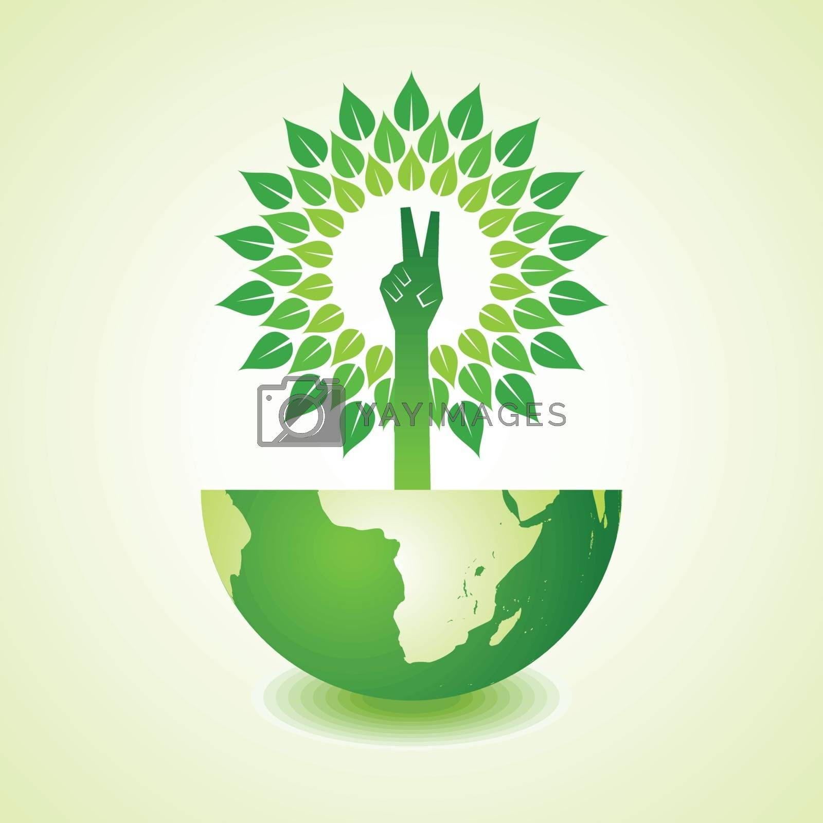 Victory hand make tree on earth - vector illustration