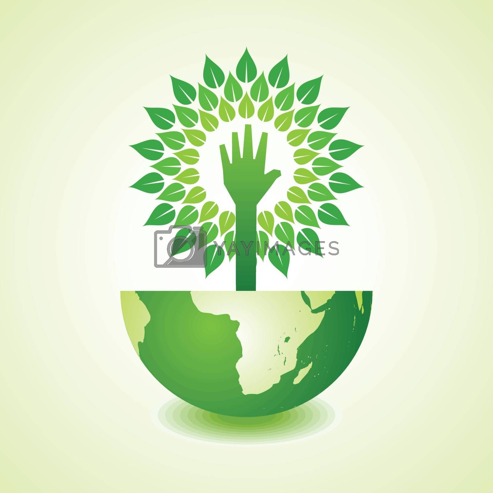 Helping hand make tree on earth - vector illustration