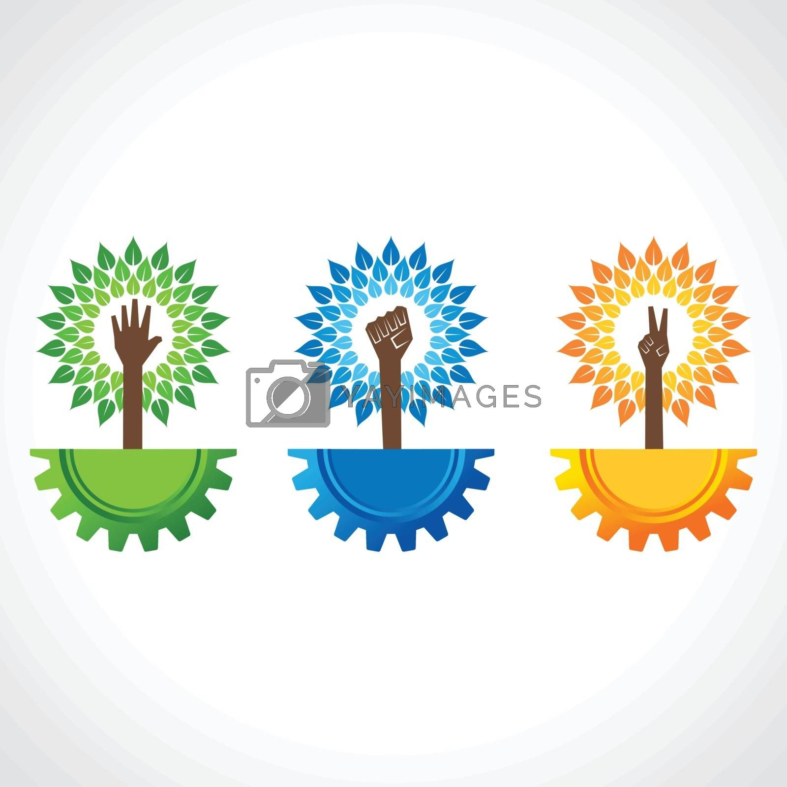Unity ,victory and helping hand make tree on gear- vector illustration