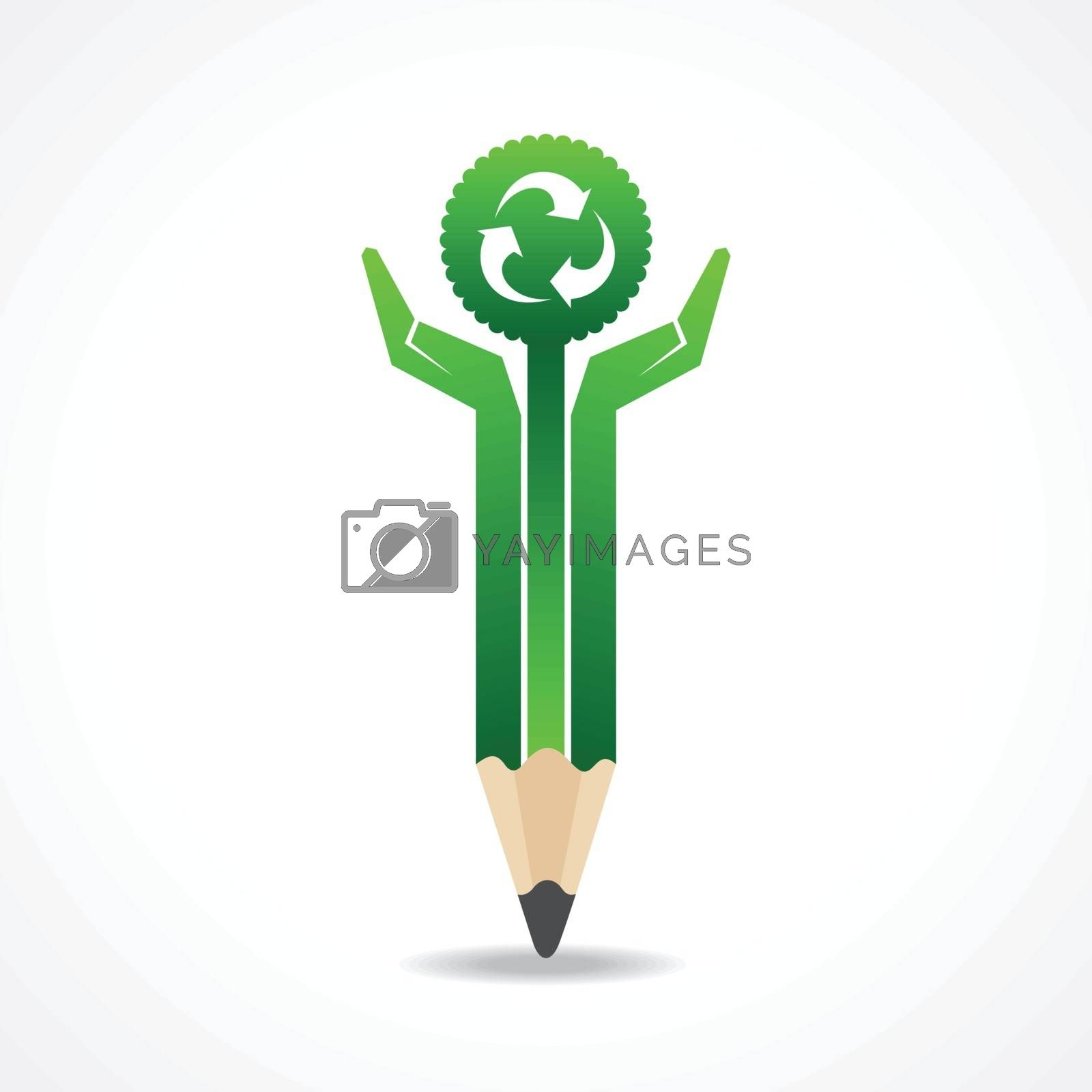 Save nature concept with pencil hands stock vector
