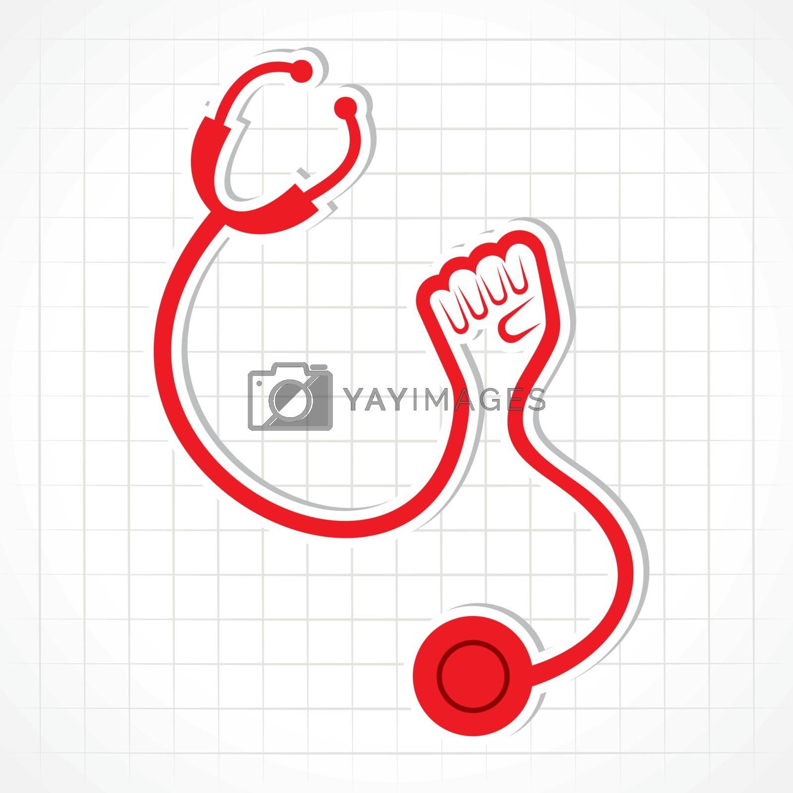 Stethoscope make shape of power hand - vector illustration