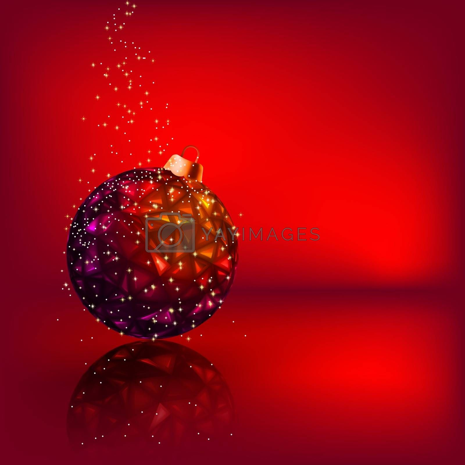 Christmas card with stars and Christmas ball. EPS 8 vector file included