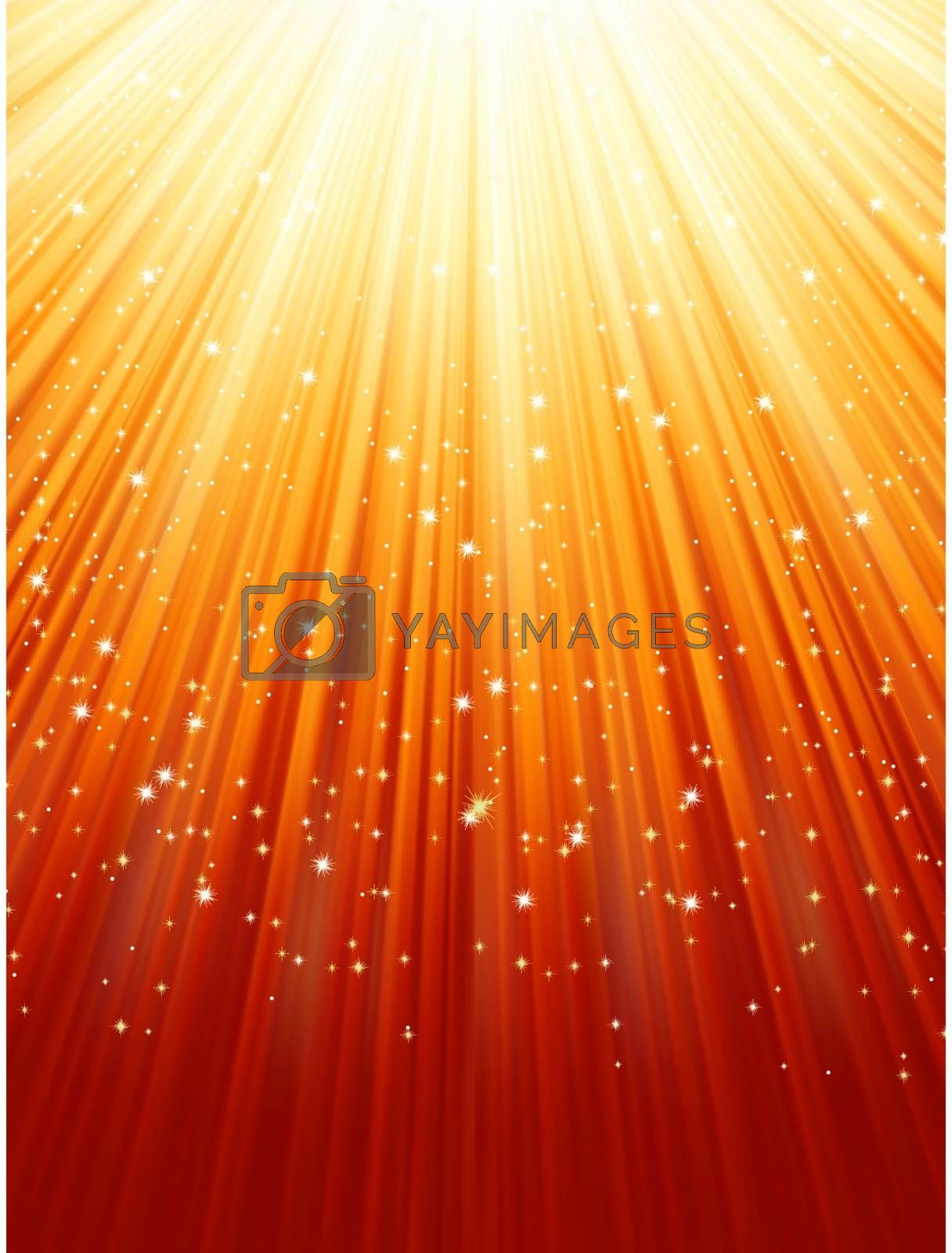 Snowflakes and stars descending on a path of golden light. EPS 8 vector file included