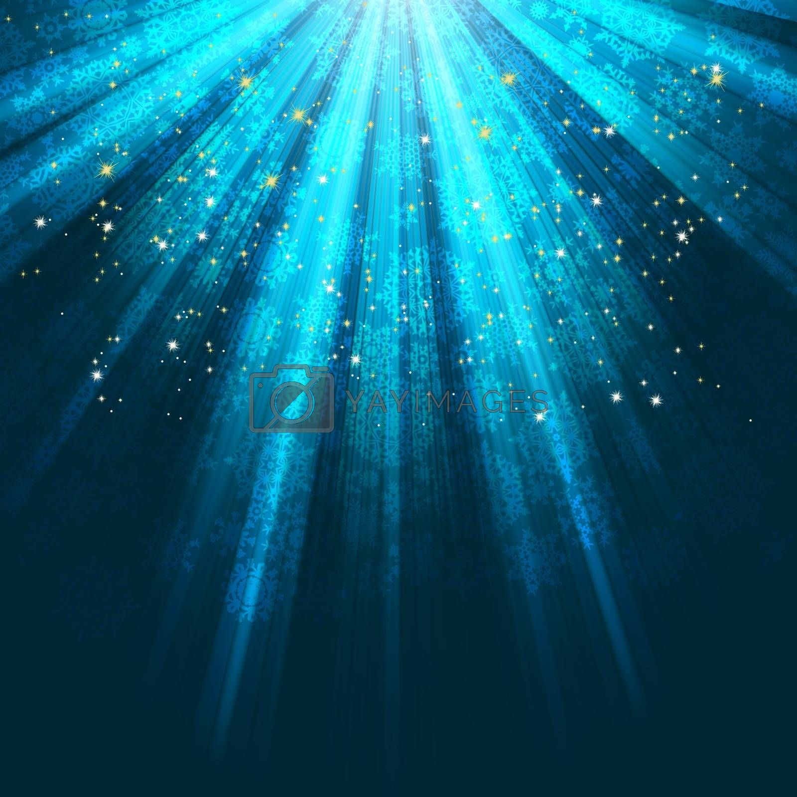Snowflakes and stars descending on background. EPS 8 vector file included