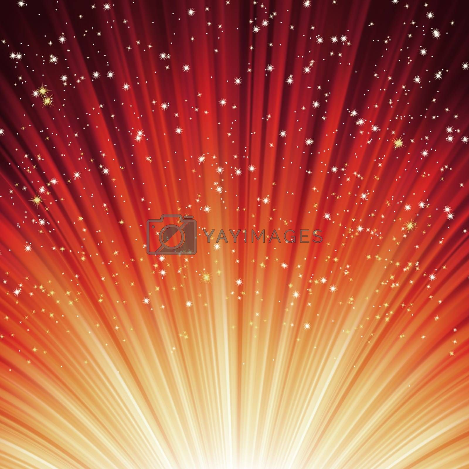 Snowflakes and stars descending on a path of red light. EPS 8 vector file included