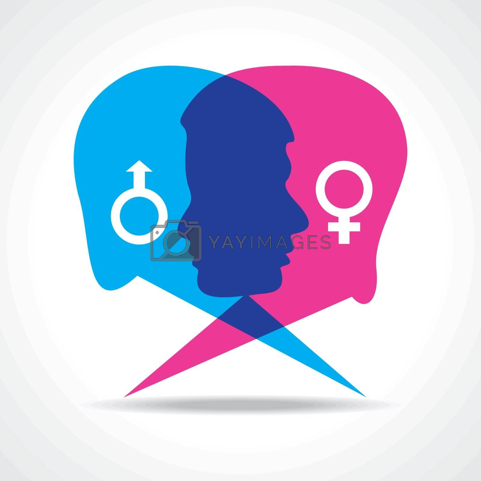 Male and female face make speech bubble stock vector