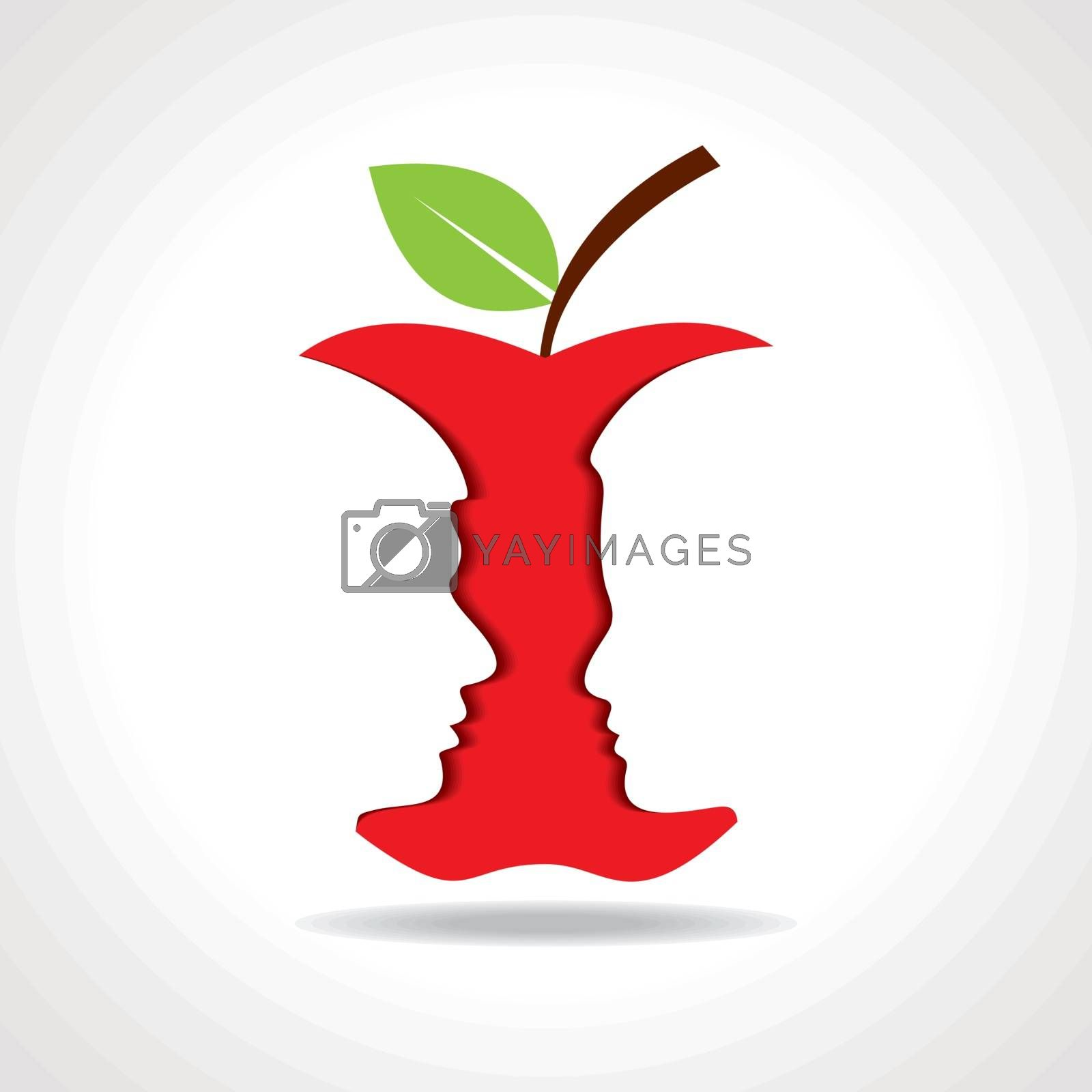 Male and female face with apple stock vector