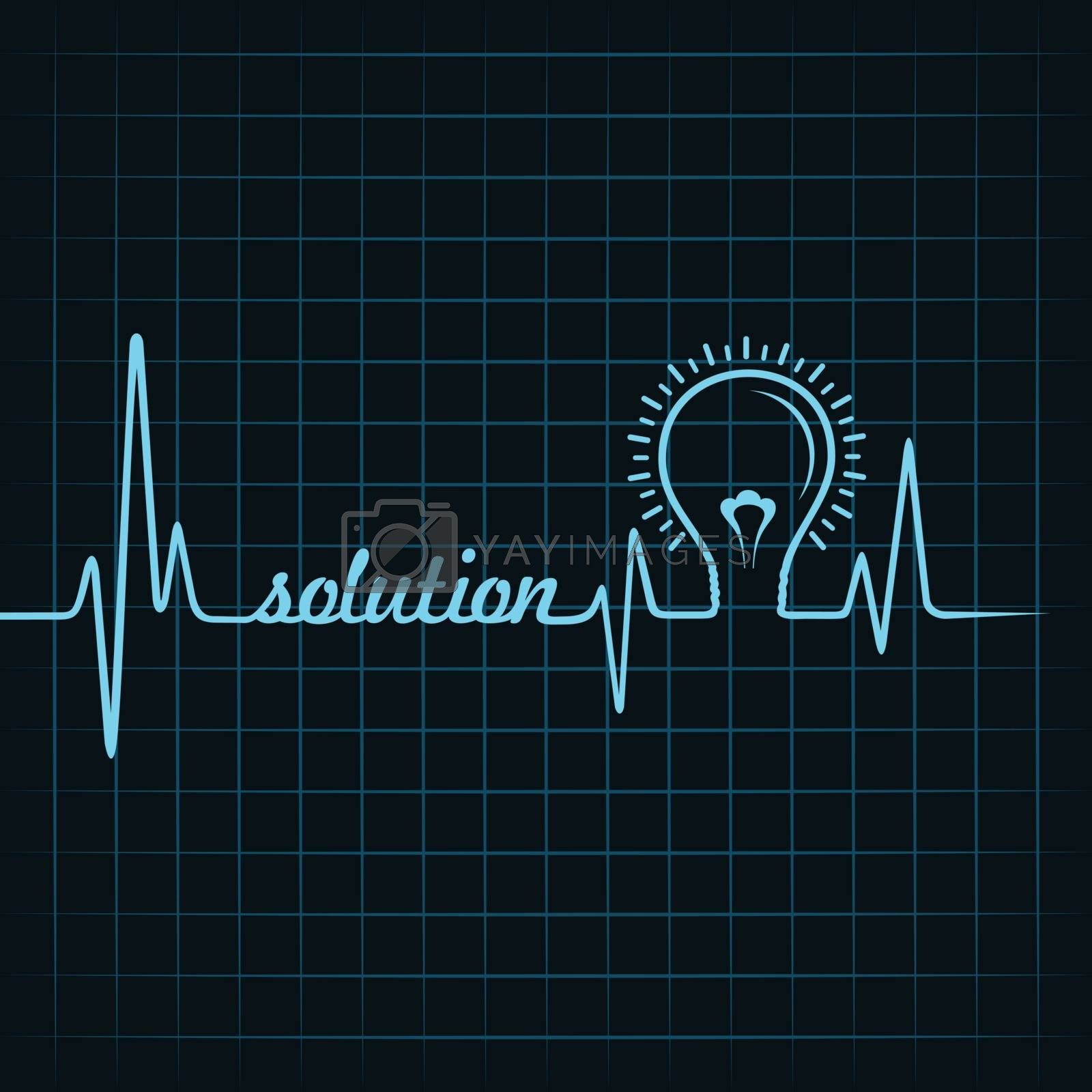 heartbeat make solution word and light-bulb stock vector