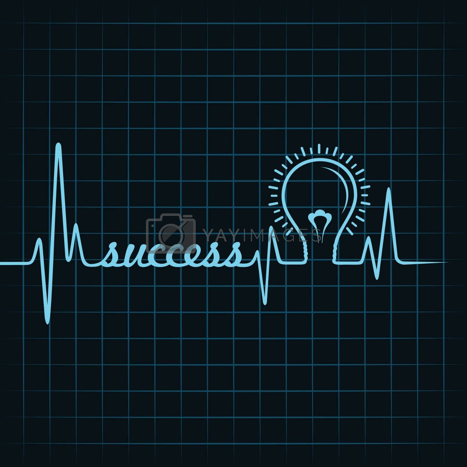 heartbeat make success word and light-bulb stock vector