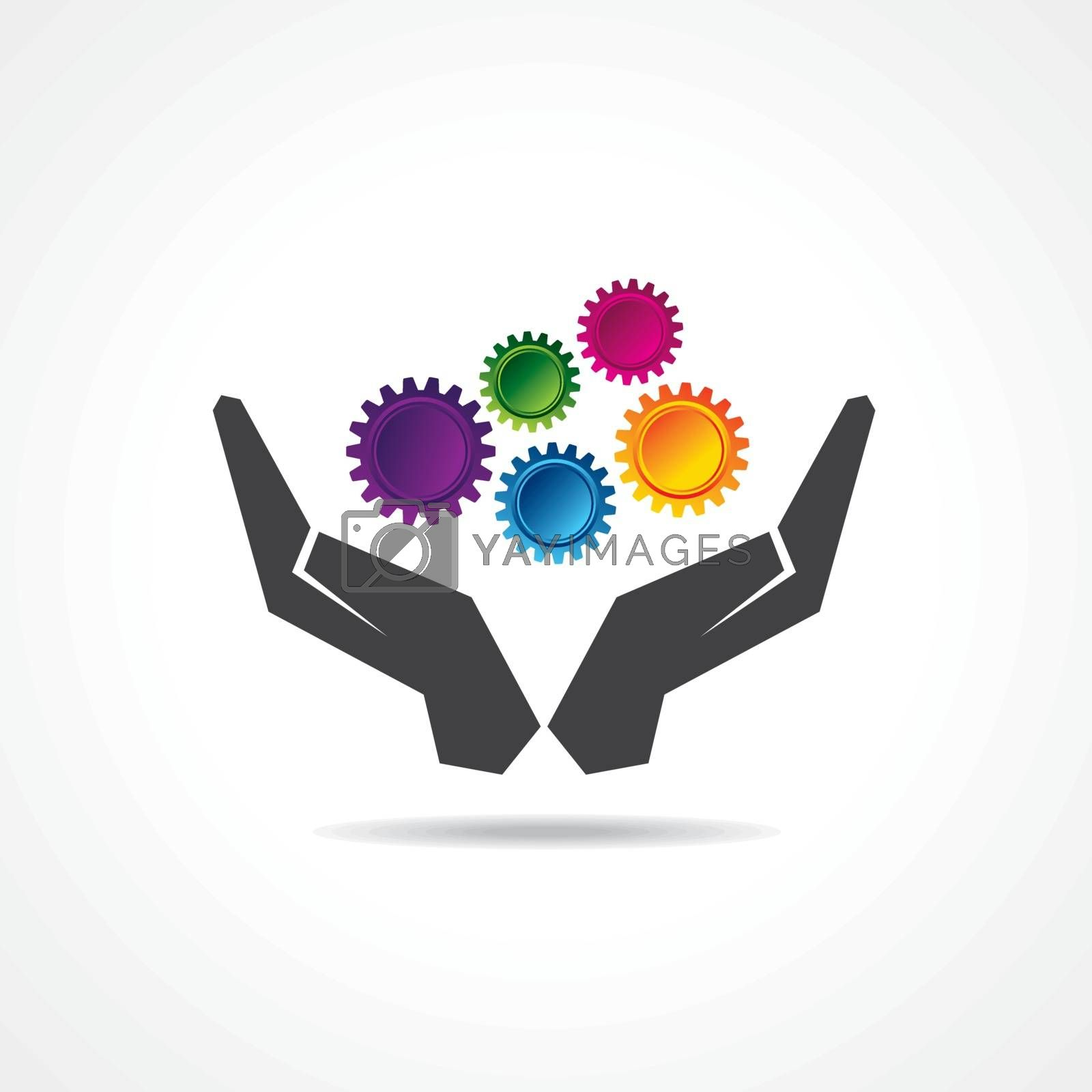 Colorful gears in hand stock vector