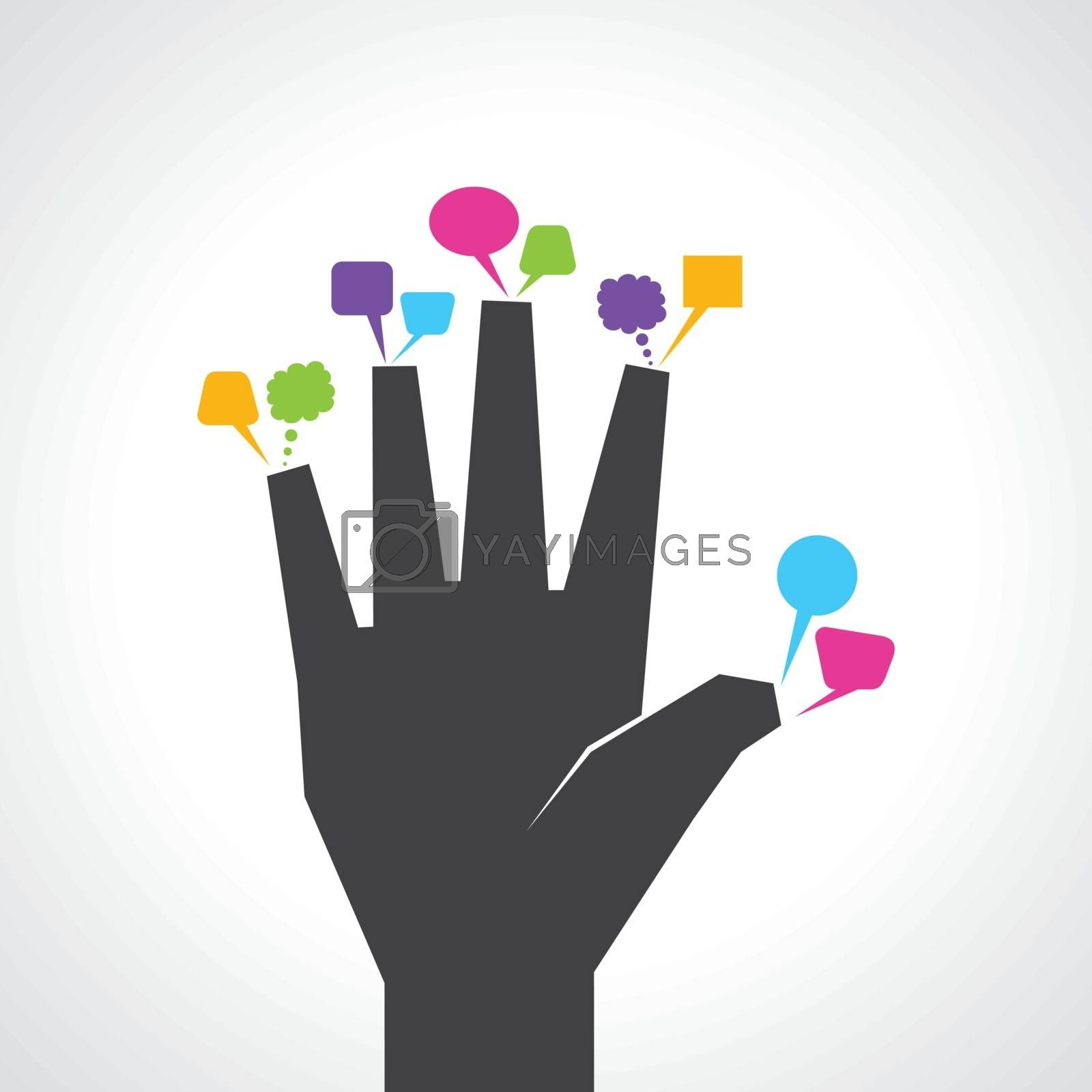 hand with colorful message bubbles stock vector