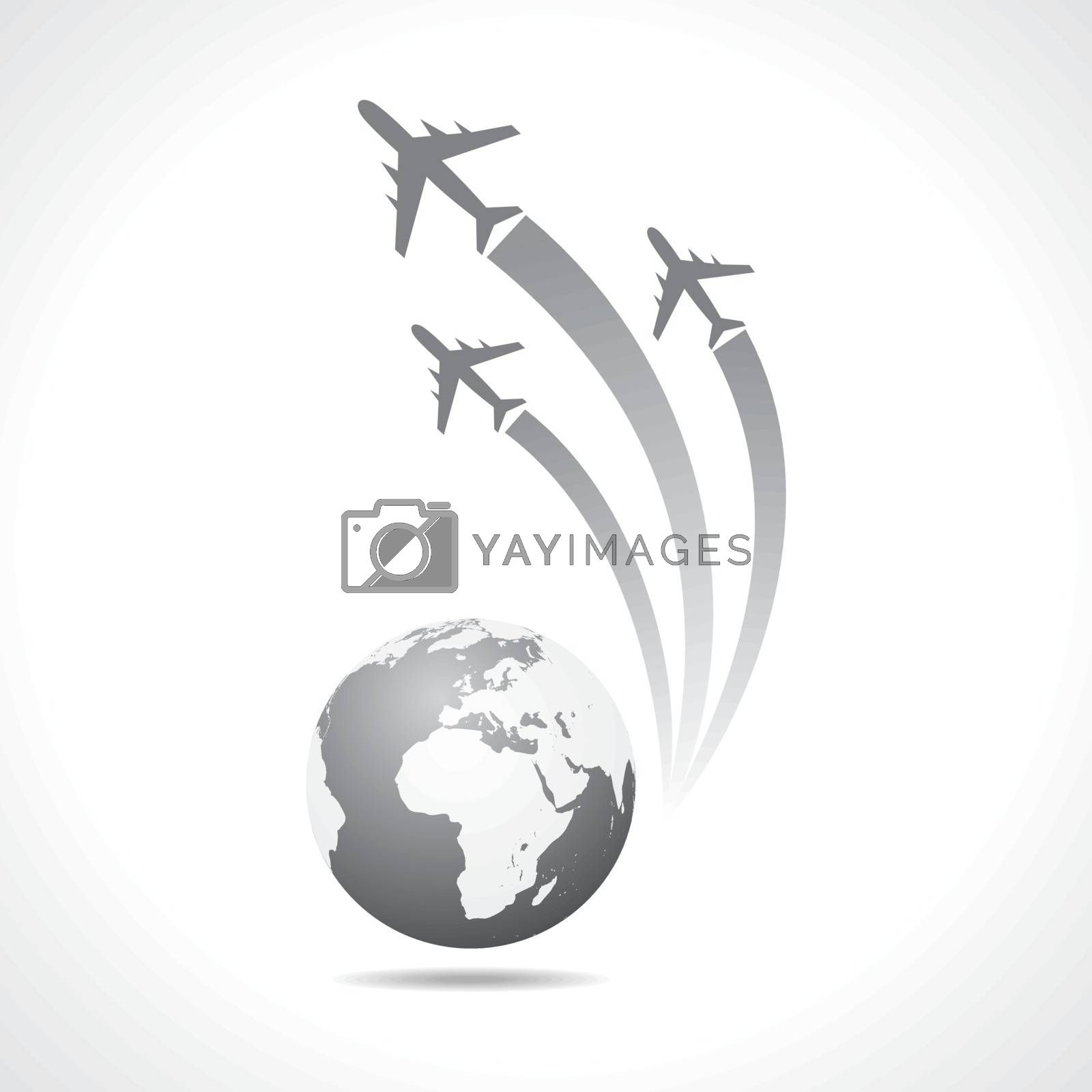 Airplanes flying around a globe stock vector
