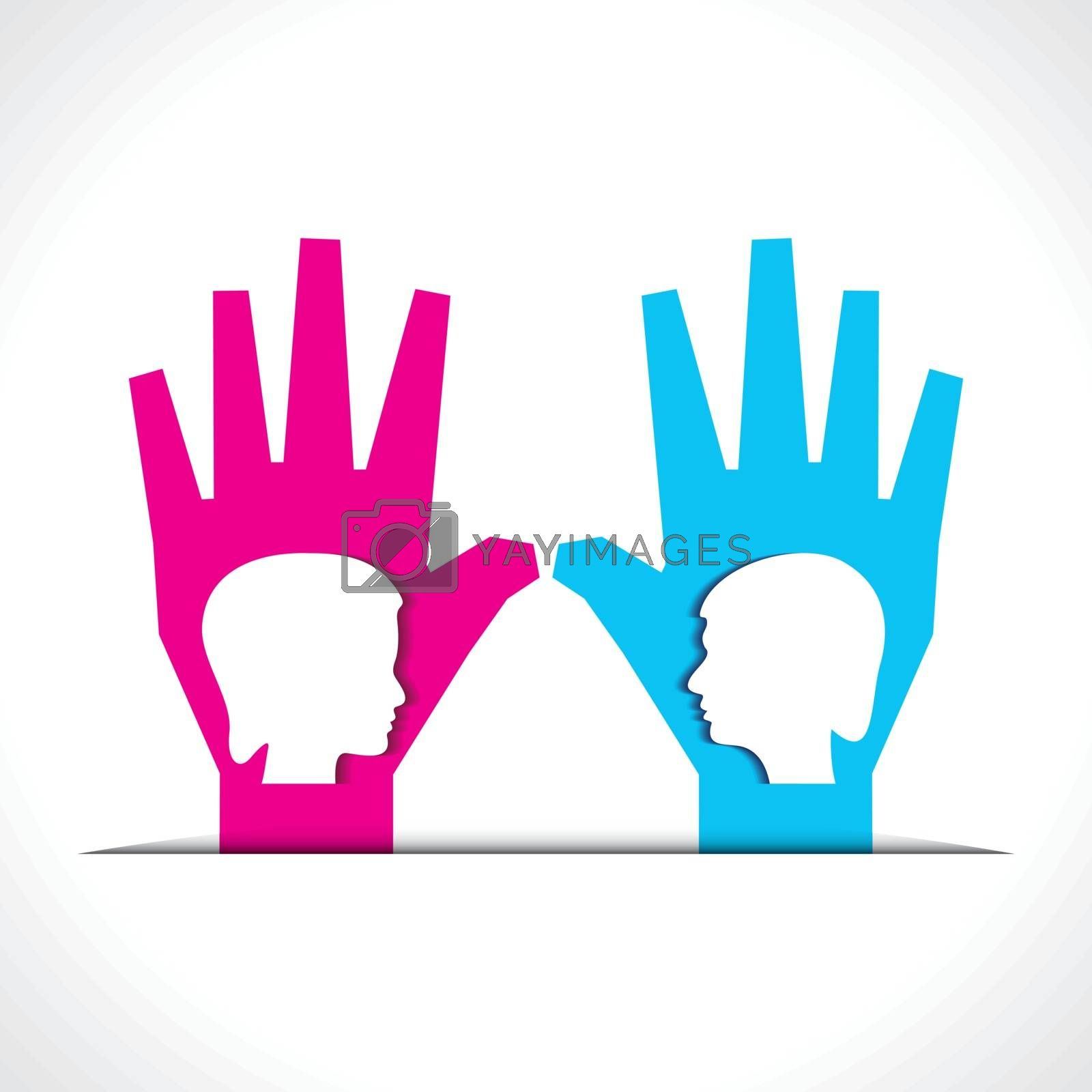 male and female face on palm stock vector