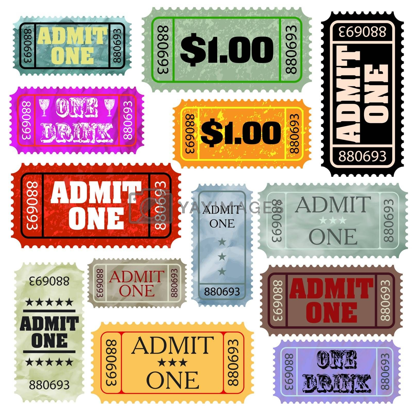 Tickets in different styles template set. EPS 8 vector file included