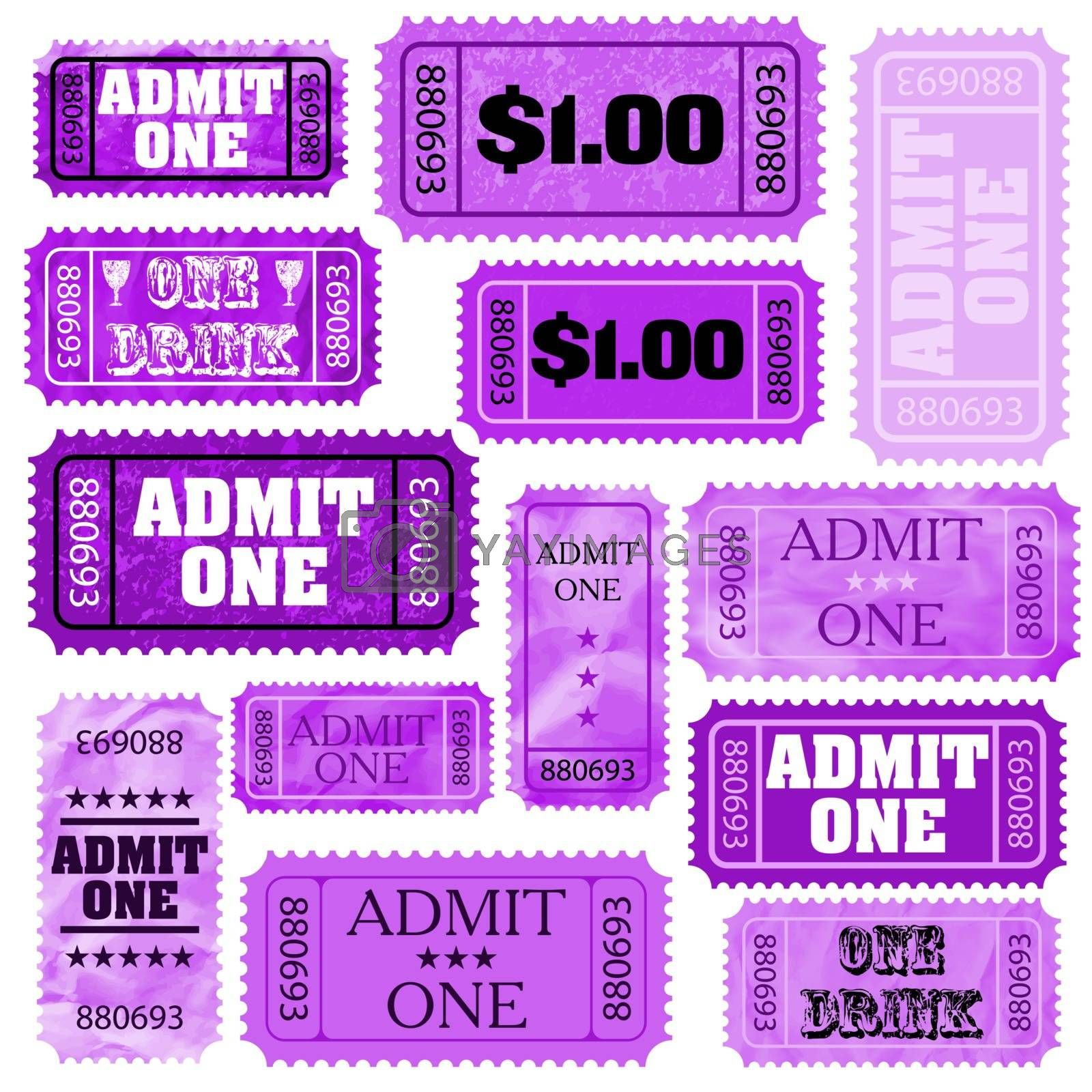 Violet set of ticket admit one. EPS 8 vector file included
