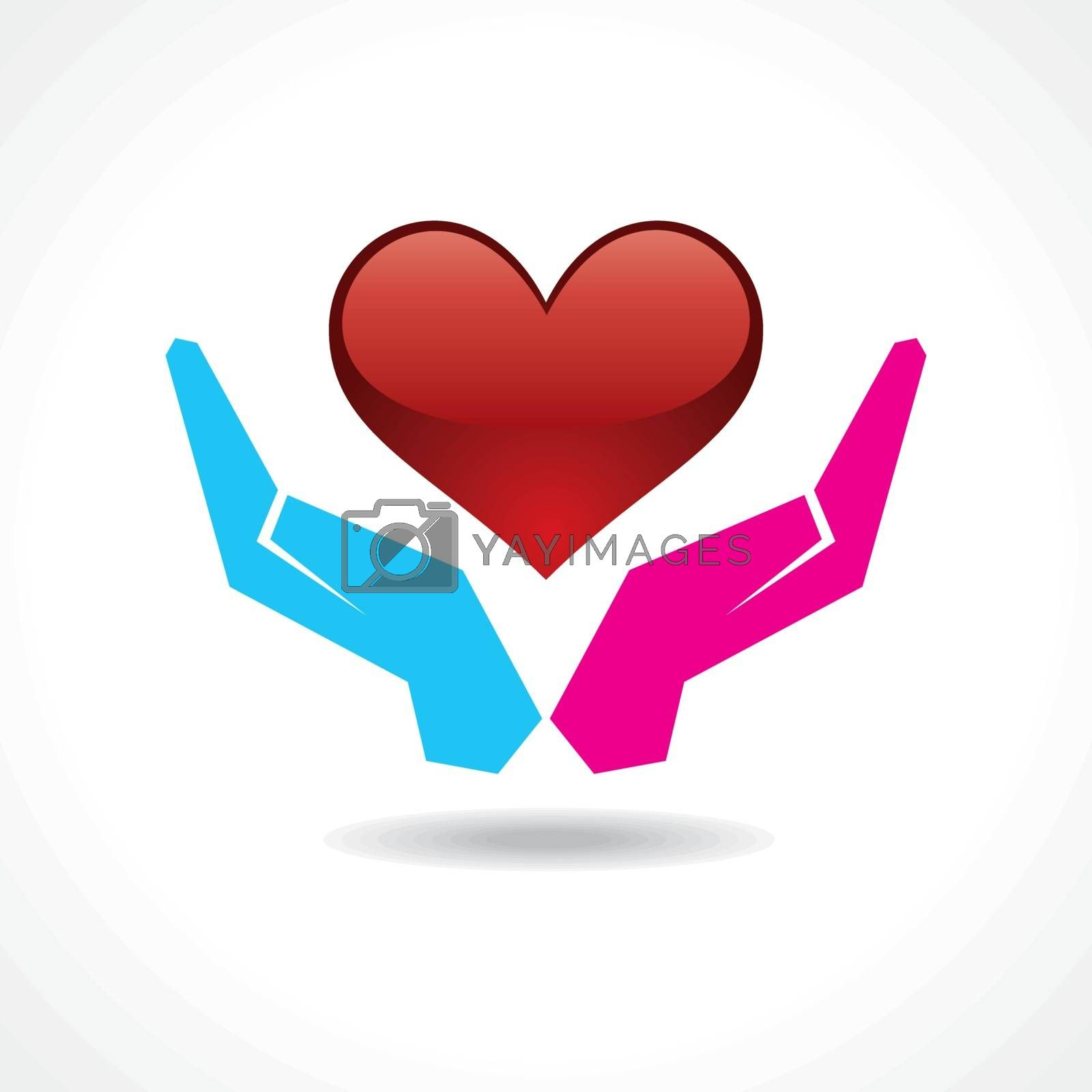 Male and female hand together protect a heart stock vector