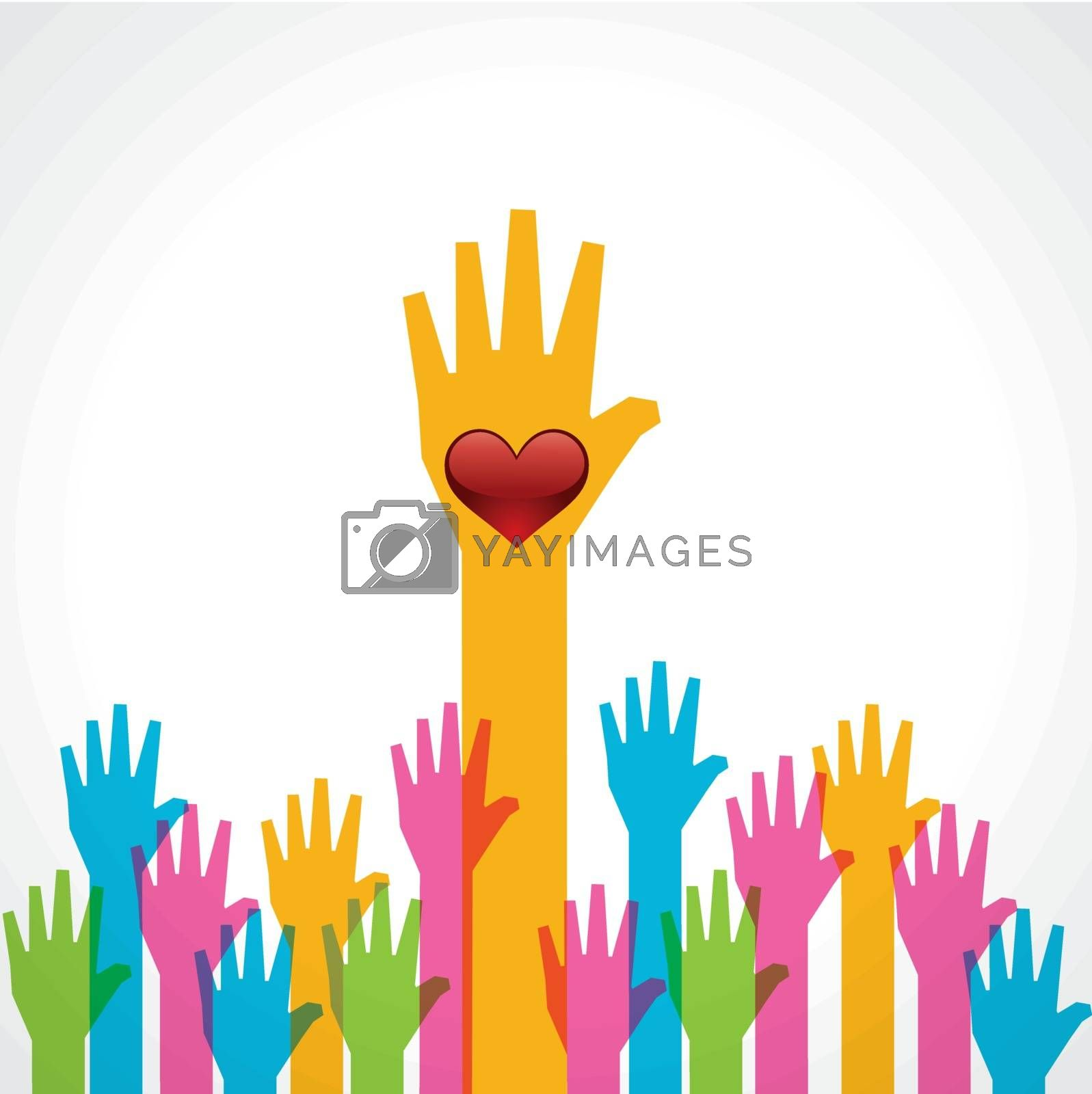 Colorful helping hand with heart stock vector