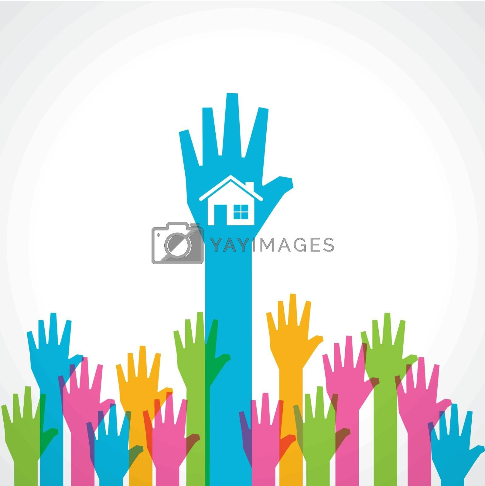 Colorful helping hand with home icon stock vector