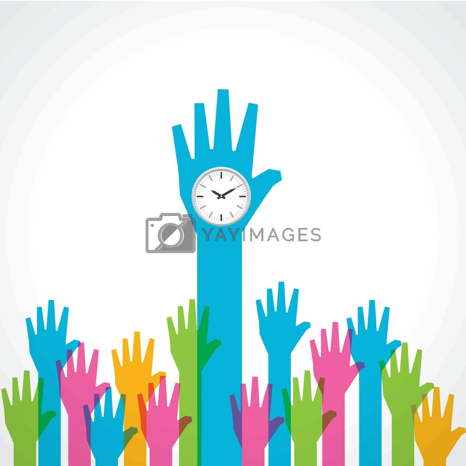 Colorful helping hand with clock stock vector