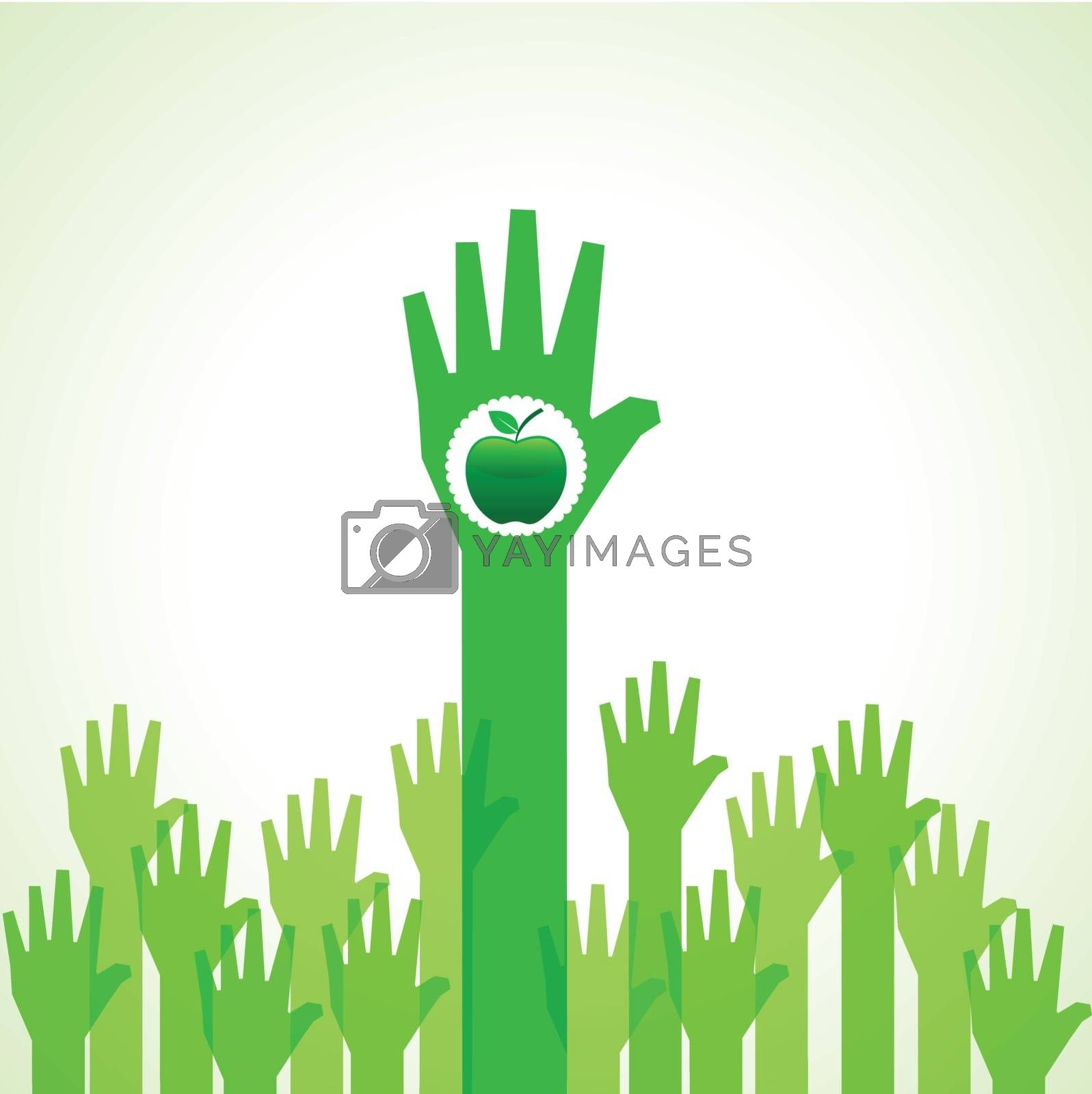 Green helping hand with green apple stock vector