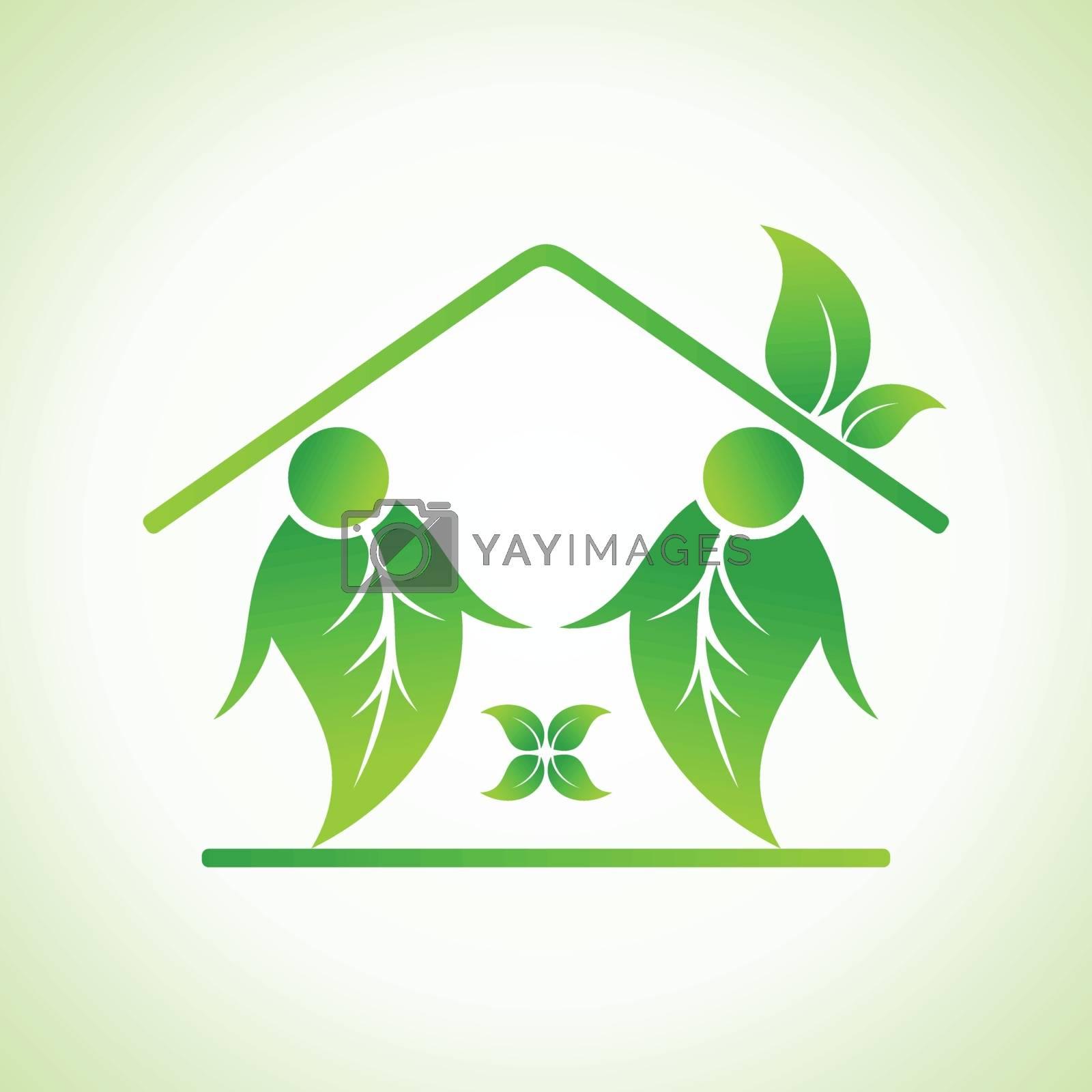 Green home icon on white