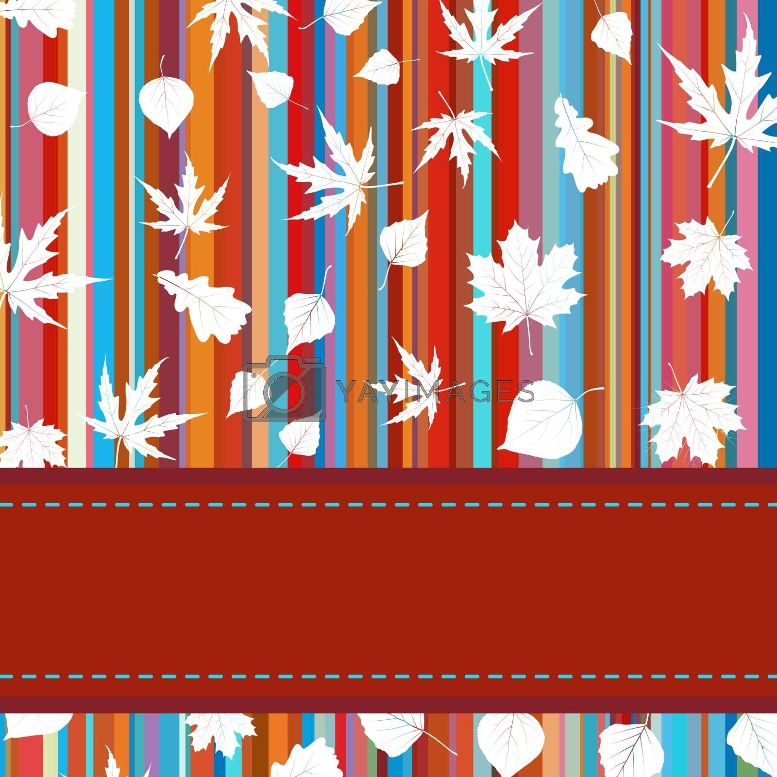 Colorful background with stripes & maple leaves. EPS 8 vector file included