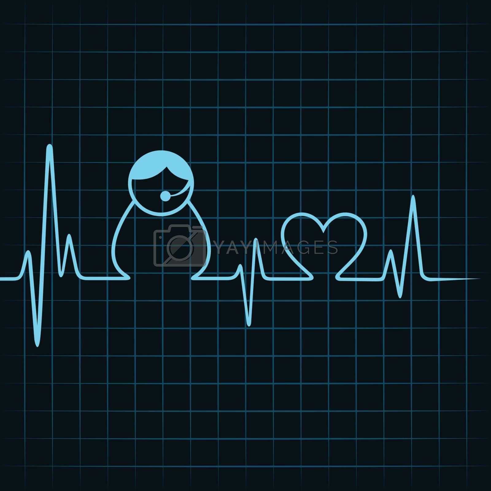 Heartbeat make a contact us icon and heart symbol stock vector