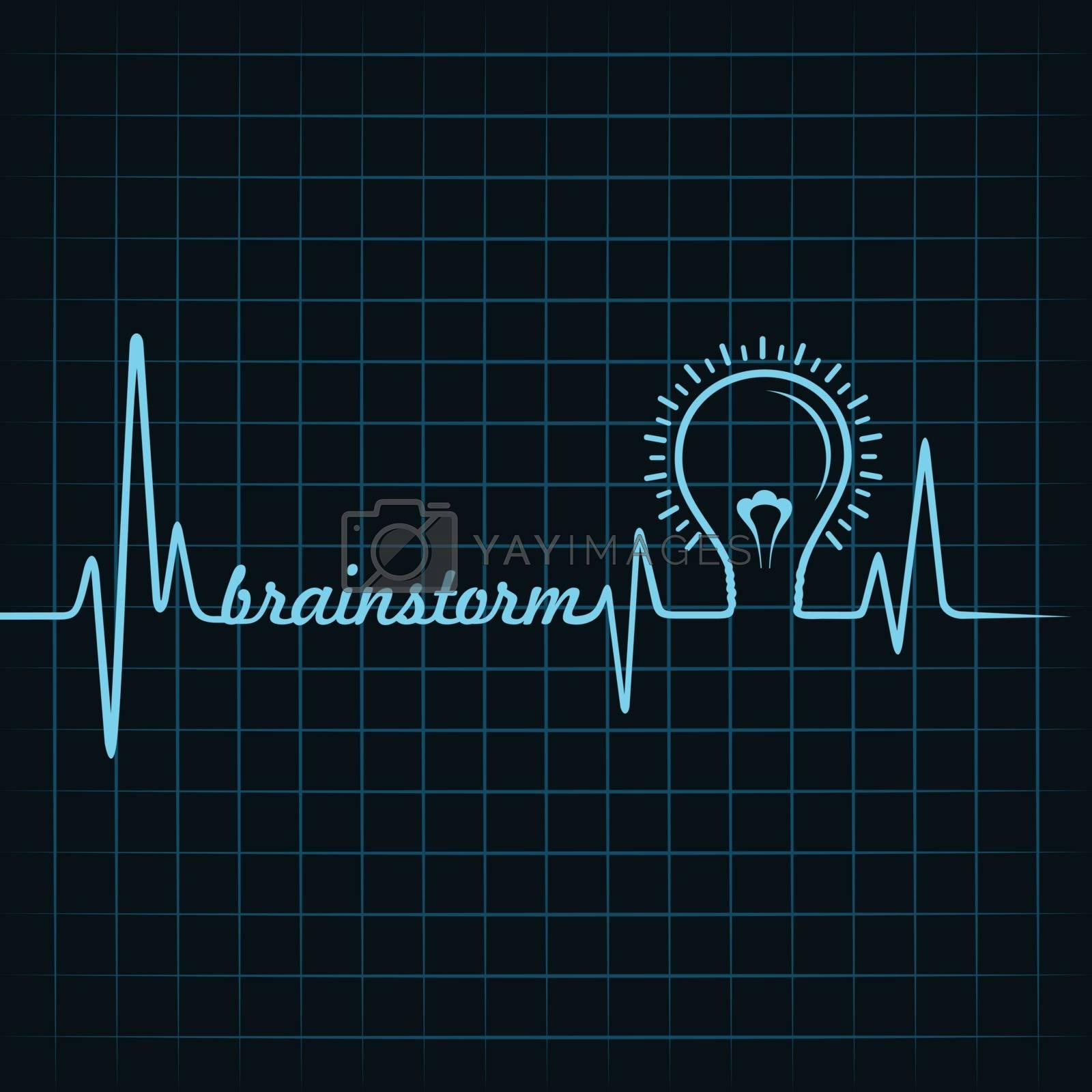 heartbeat make brainstorm word and light-bulb stock vector