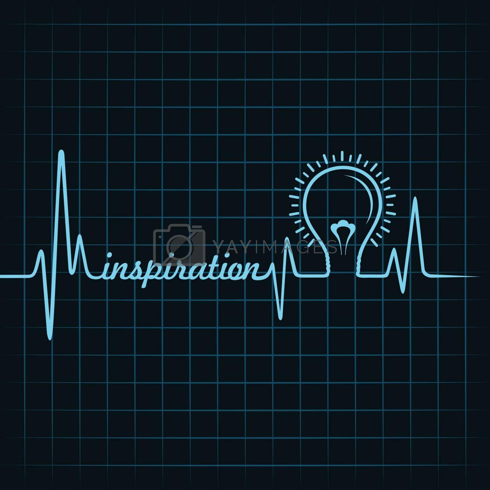 heartbeat make inspiration word and light-bulb stock vector